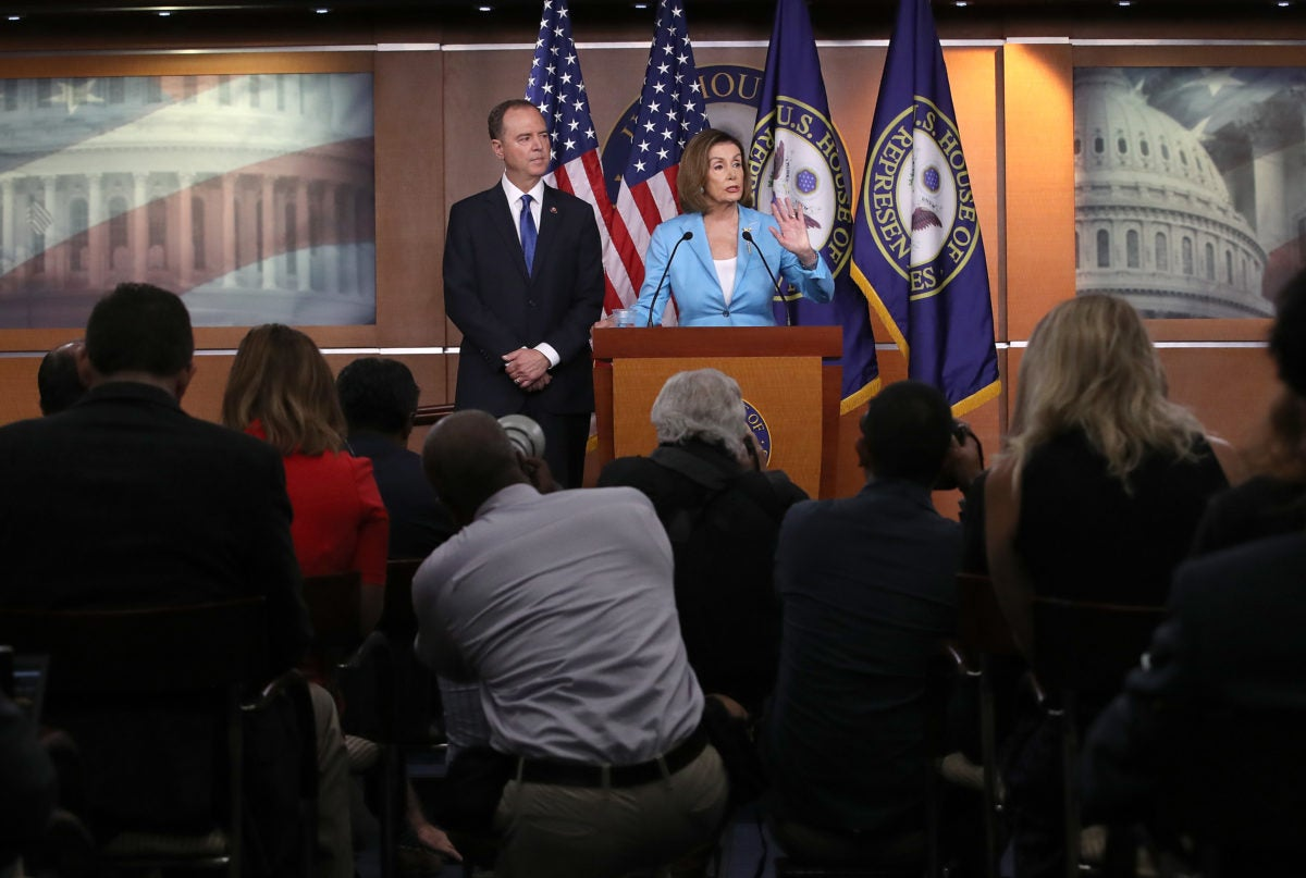 Rep. Adam Schiff Joins Nancy Pelosi At Her Weekly News Conference On Capitol Hill prior to talks of a full House vote