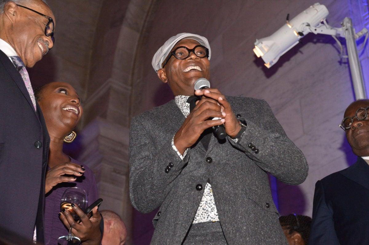 Samuel Jackson pays tribute to Rev. Al on stage