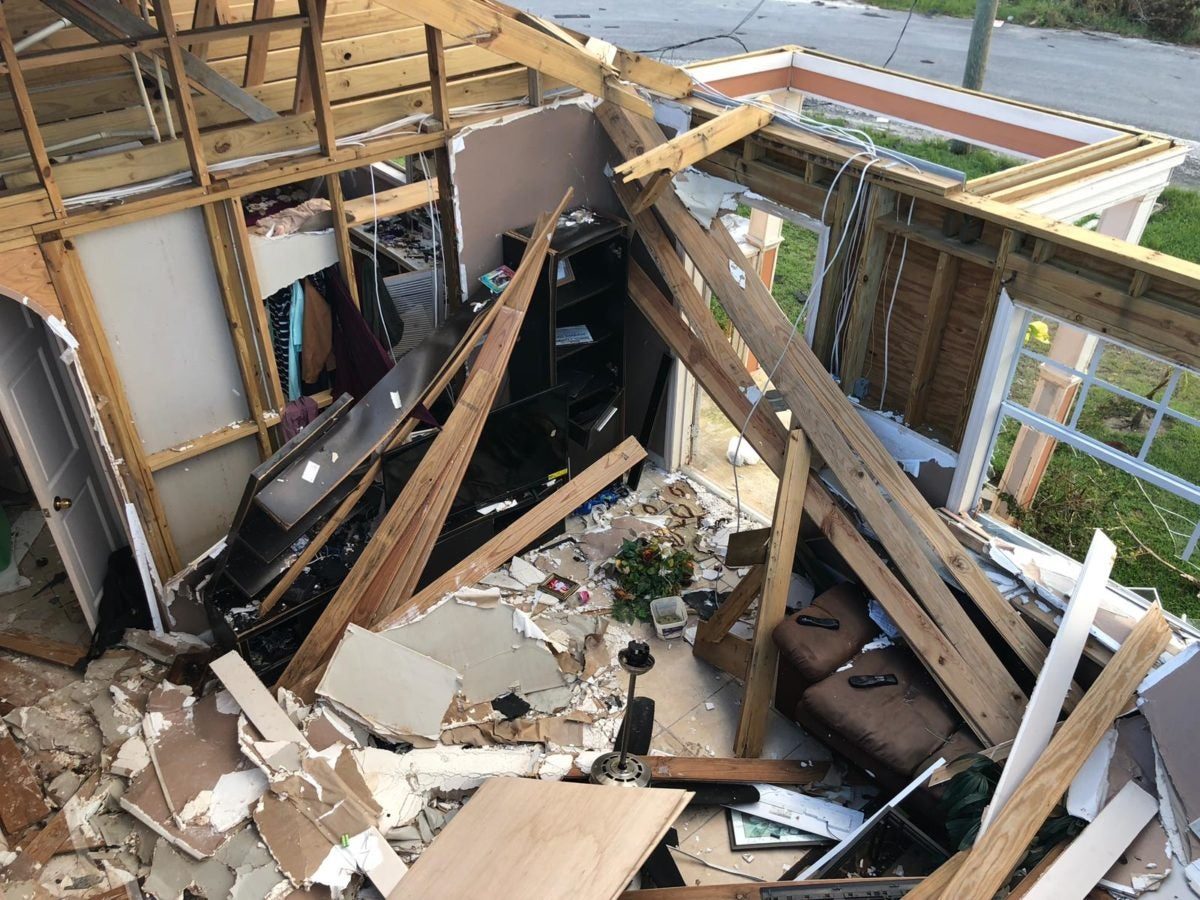 Interior of home in Abaco with complete destruction caused by Hurricane Dorian