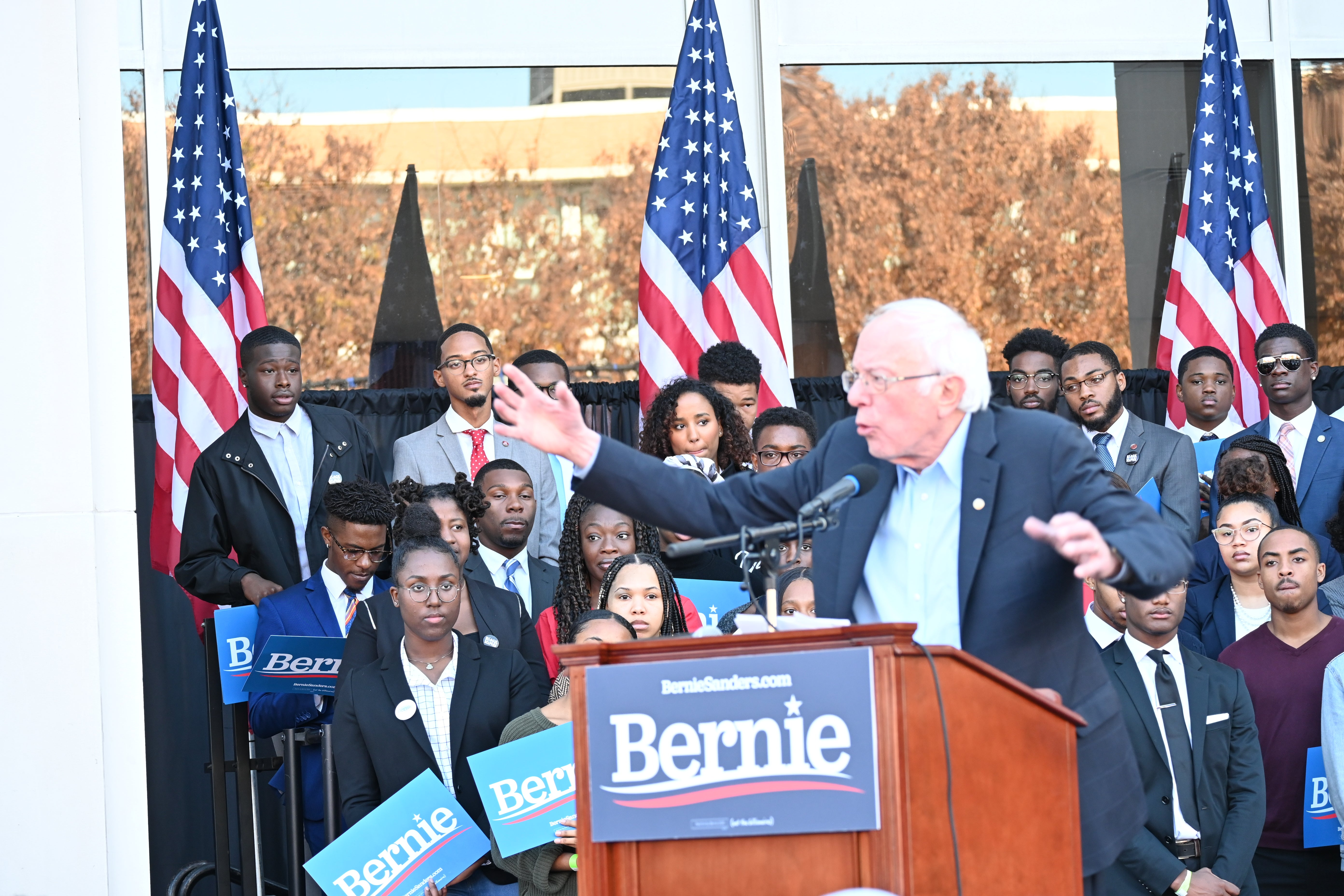 Bernie Sanders campaign holds rally at Morehouse college.