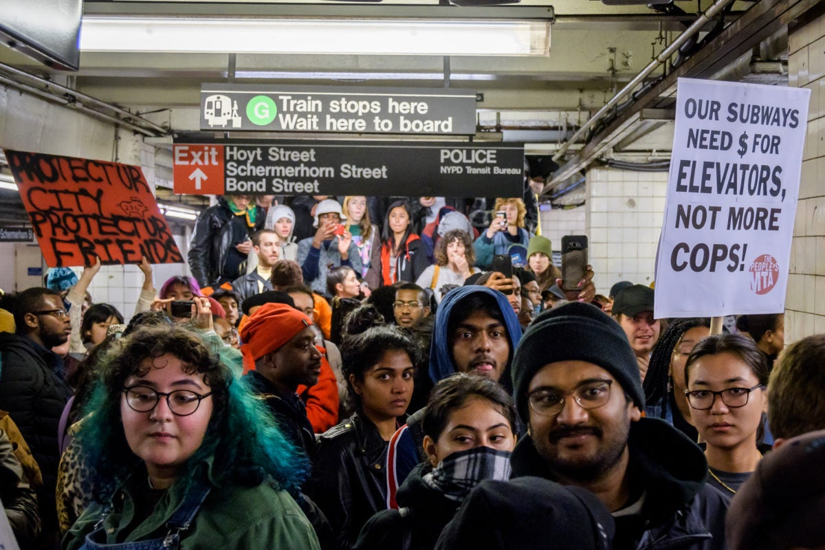 NYC residents protest over policing in subway system as a stop to fare evasion