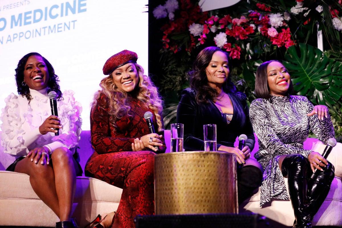"BRAVOCON – ""M2M Atlanta: Better Make an Appointment Panel at Skylight Modern in New York City on Friday, November 15, 2019"" -- Pictured: (l-r) Dr. Simone Whitmore, Mariah Huq, Dr. Heavenly Kimes, Quad Webb -- (Photo by: Heidi Gutman/Bravo)"
