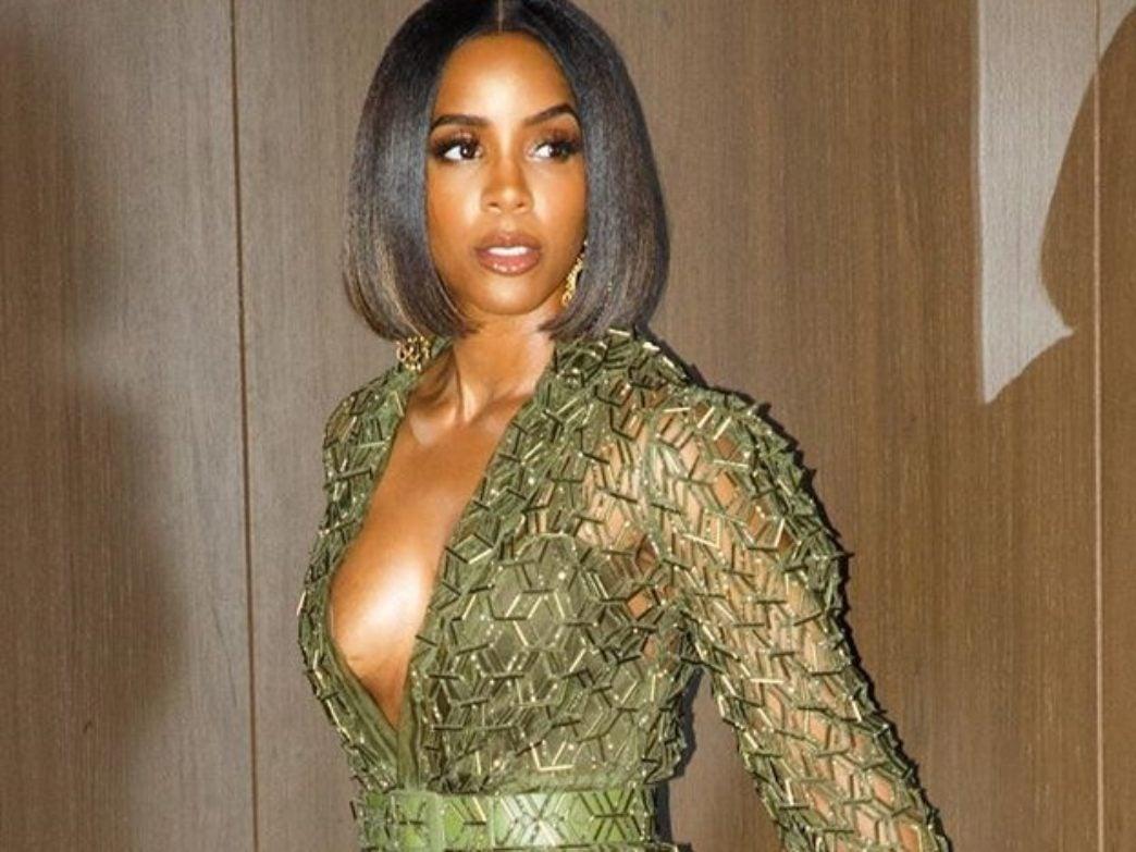 Kelly Rowland Glistens In A High-Slit Midi Dress
