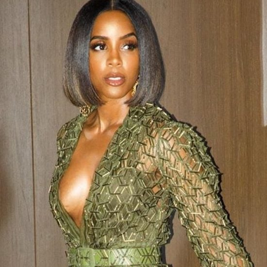 Kelly Rowland Glistens In A Laser Cut Blazer and Skirt