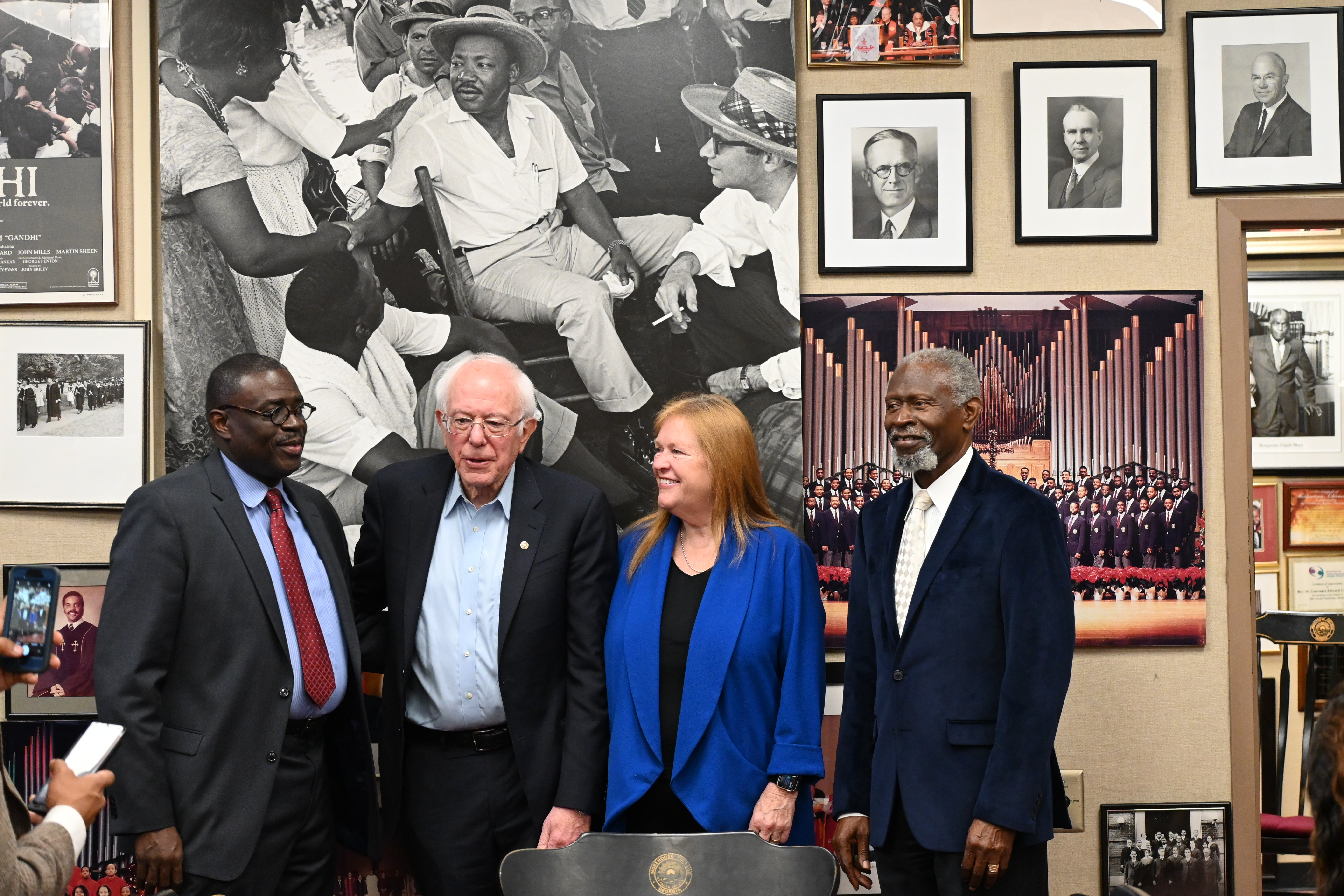 Sen. Bernie Sanders with wife and Morehouse College officials in the school's MLK Chapel in Atlanta.
