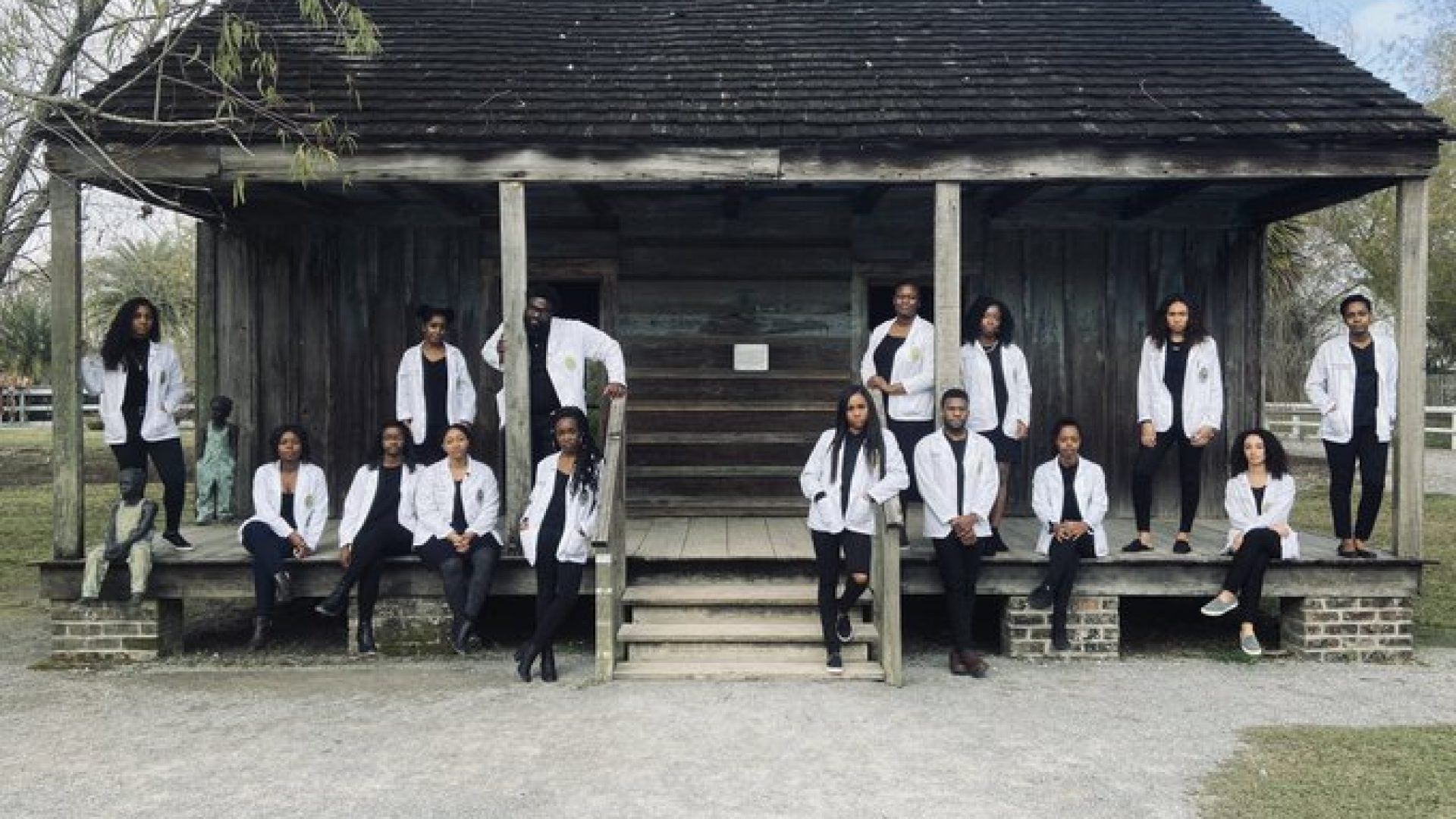 #BlackExcellence: Viral Photo Shows Black Medical Students Posed In Front Of Former Slave Quarters