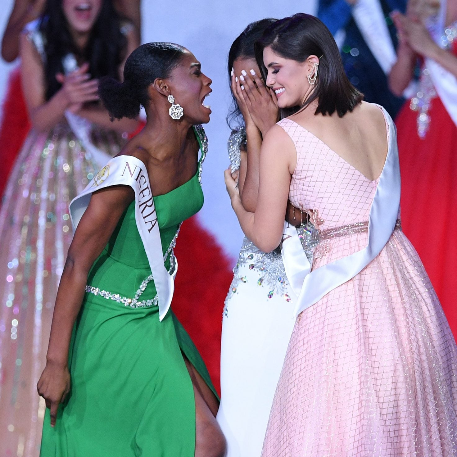 Miss Nigeria's Praise Dance For Fellow Contestant's Win Is Friendship Goals