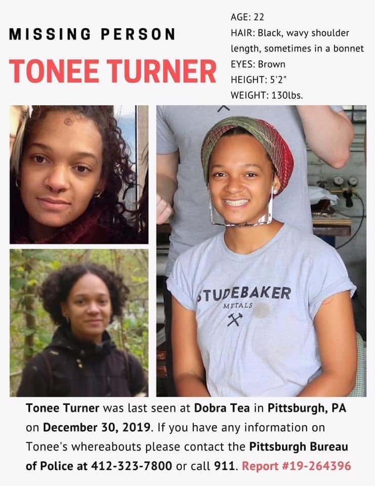 Missing person flyer for Tonee Turner