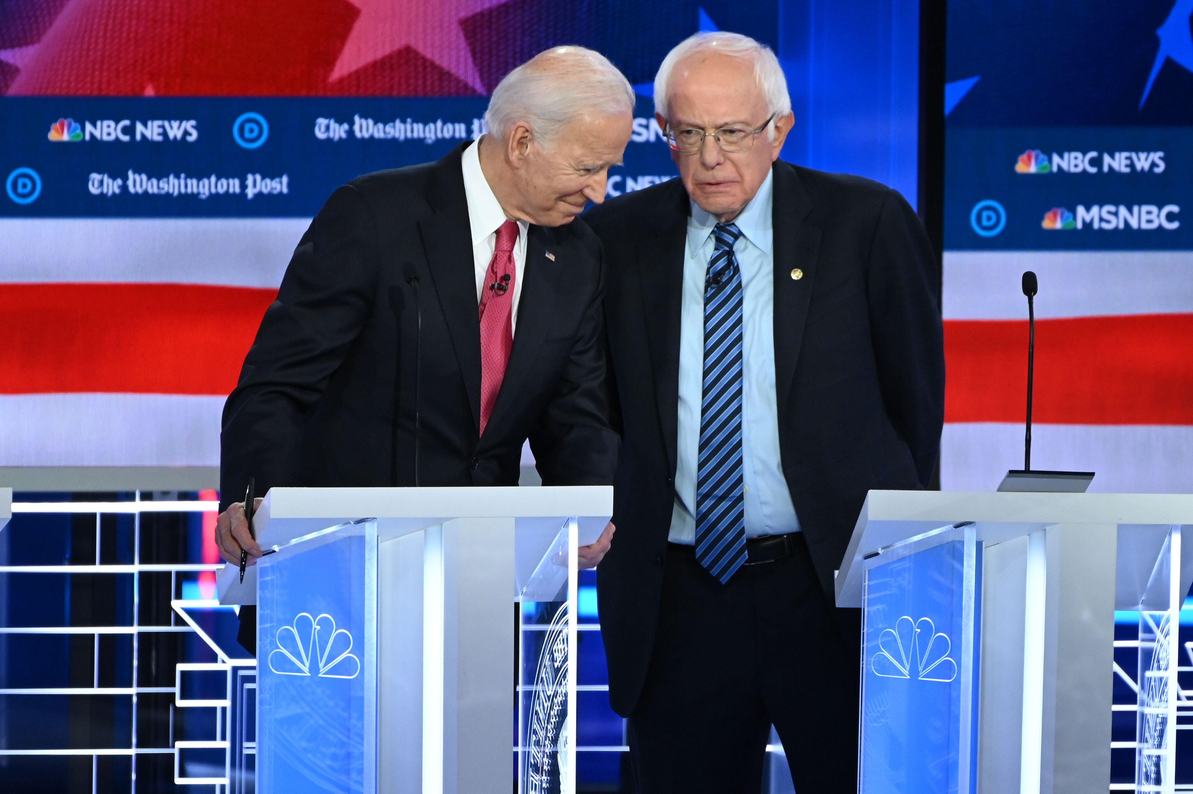 """Bernie Sanders and Joe Biden. Last week the former VP called on Sanders to disavow """"Bernie Bro"""" behavior"""