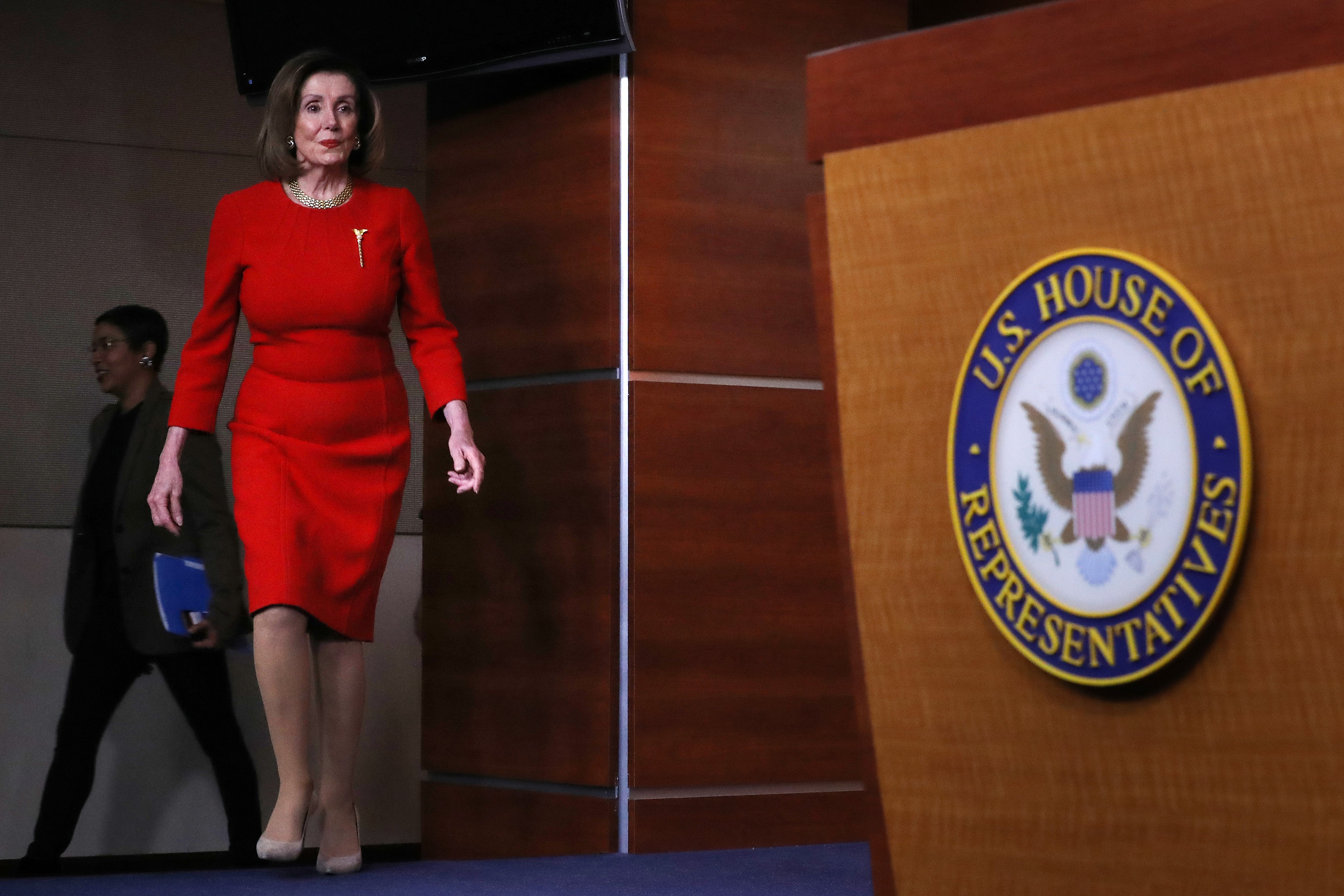 Speaker Pelosi Speaks To The Press In Weekly News Conference about articles of impeachment.