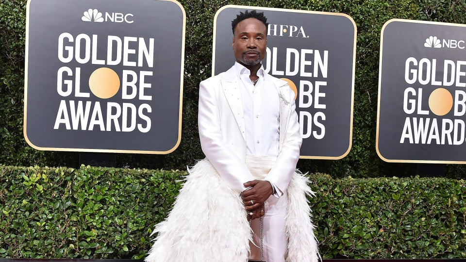 Billy Porter's Detachable Train At The Golden Globes Red Carpet