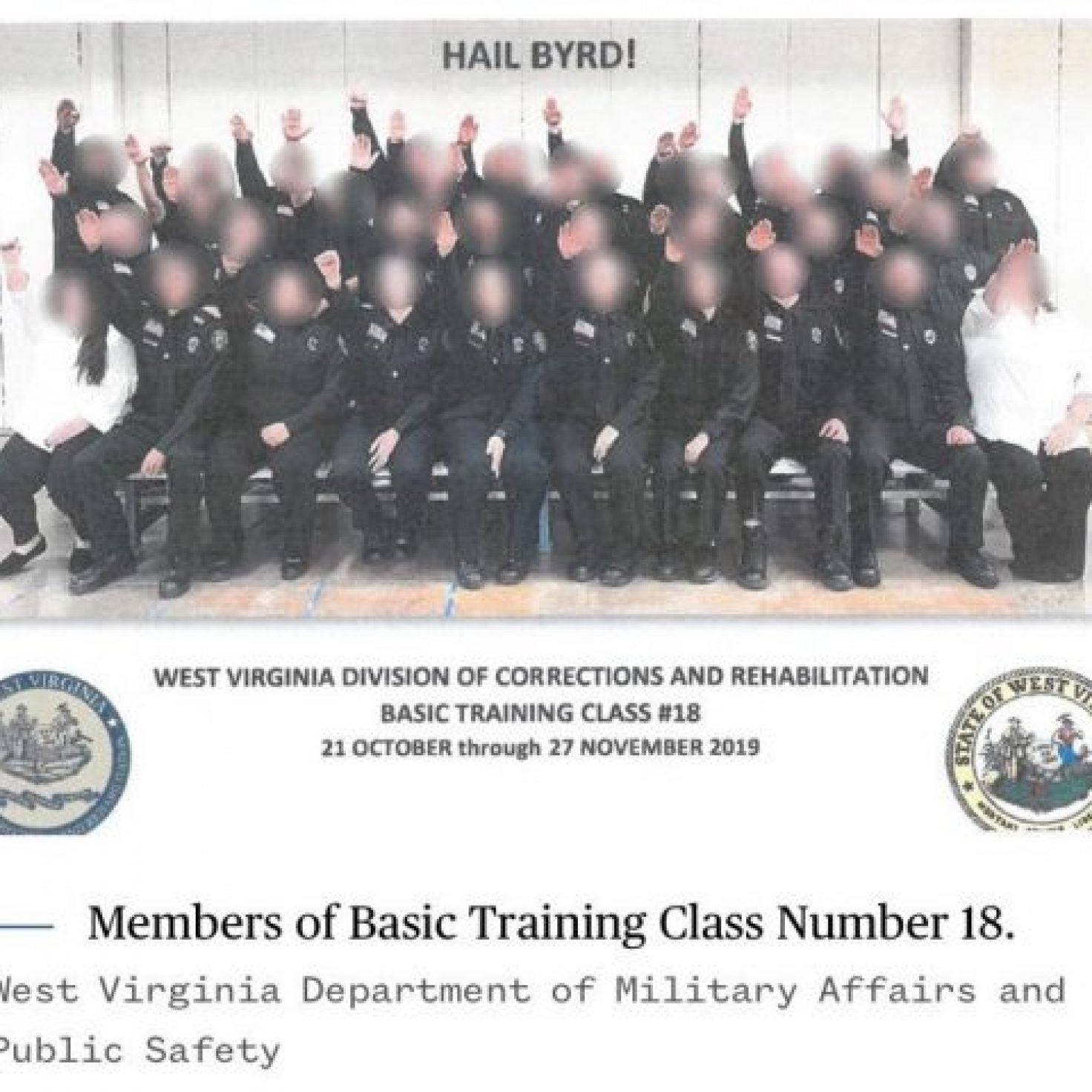 West Virginia Governor Approves Termination Of All Cadets Participating In Nazi Salute Photo