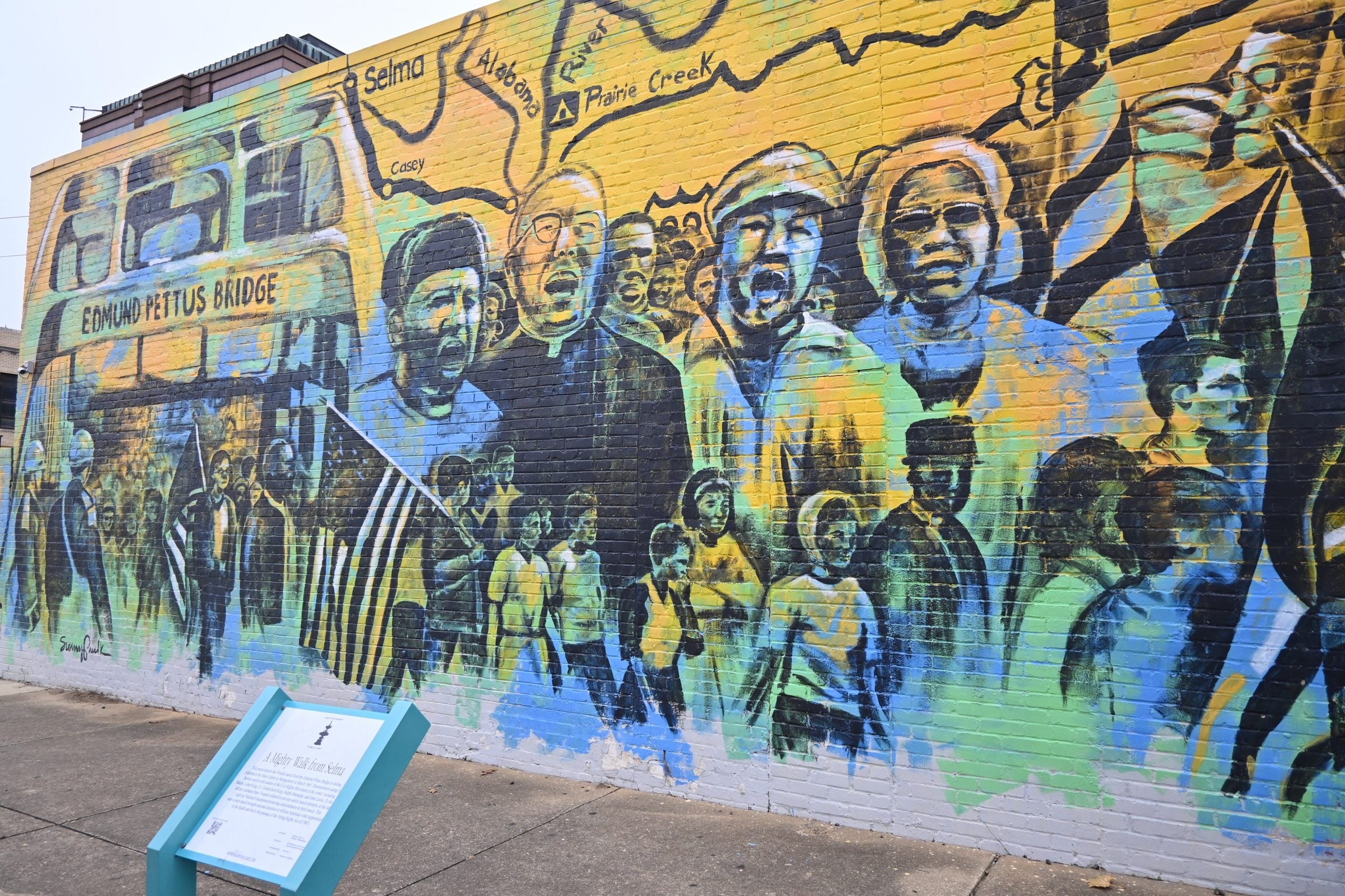 A mural near Montgomery's center depicts the famous Selma to Montgomery walk