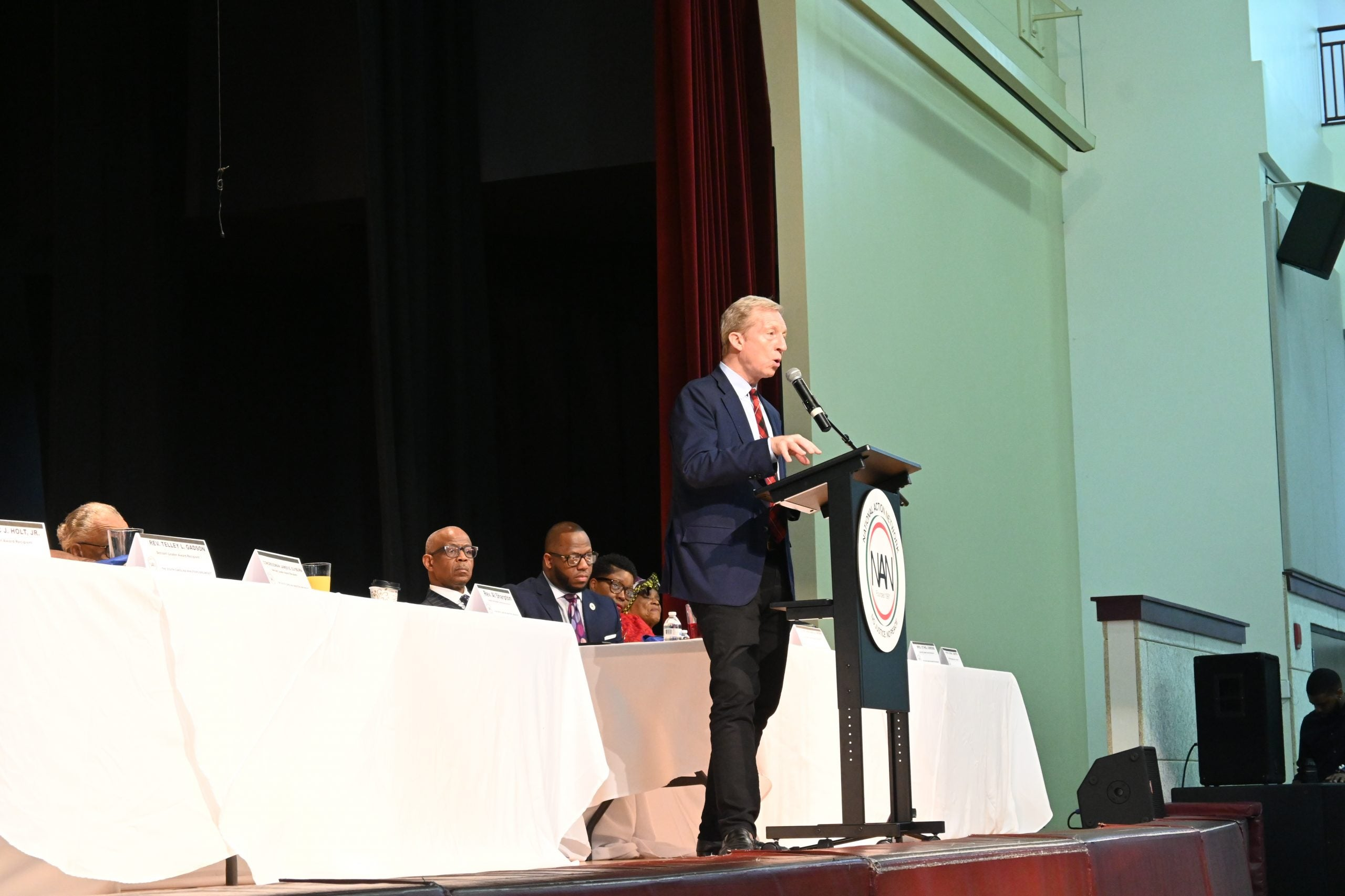 Presidential candidate Tom Steyer discusses his plan for Black America during a speech to South Carolina voters at the National Action Network breakfast.