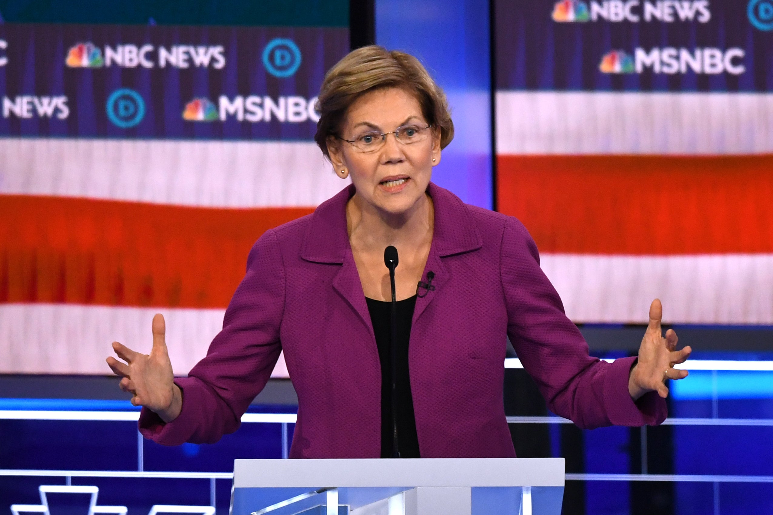 Elizabeth Warren during a standout debate stage performance where she ethered Mike Bloomberg
