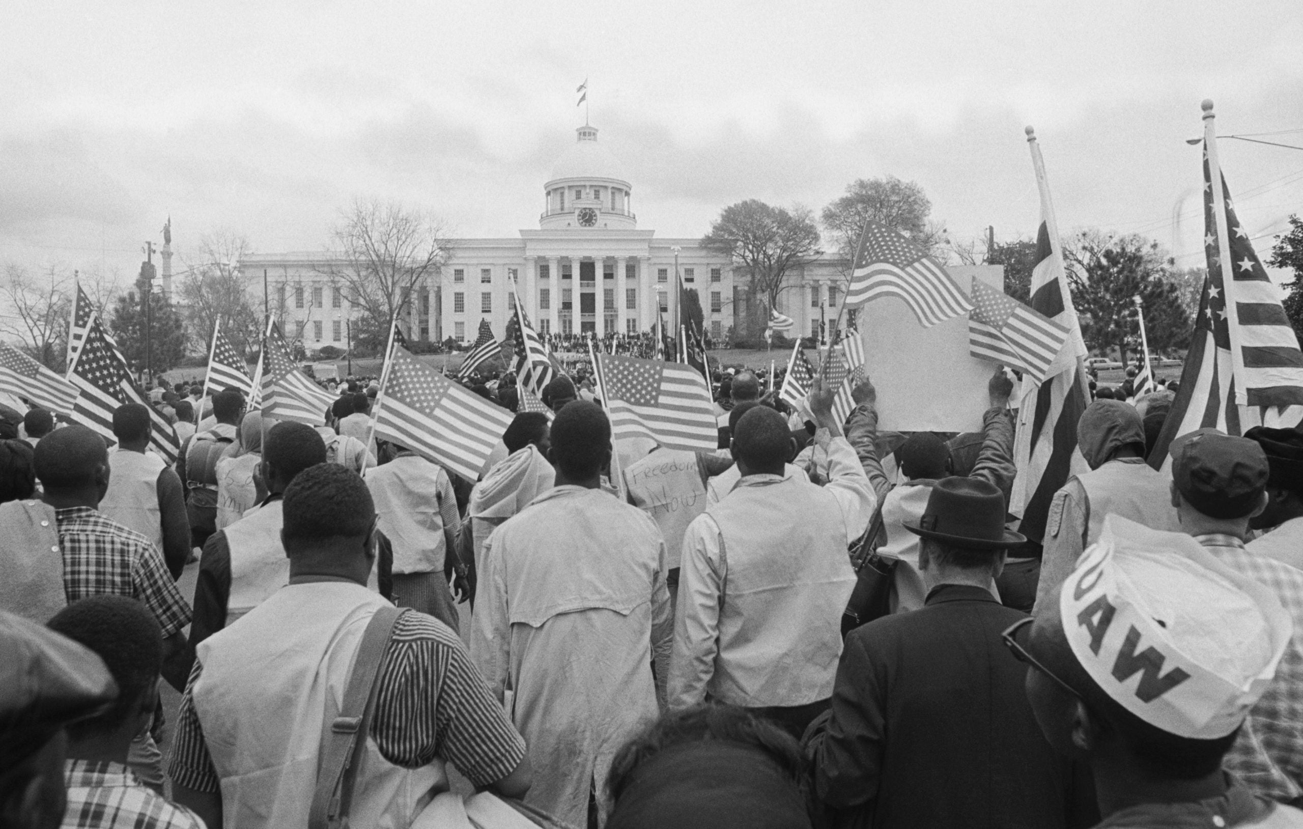 Civil rights marchers arrive at the Alabama State Capitol in Montgomery, Alabama