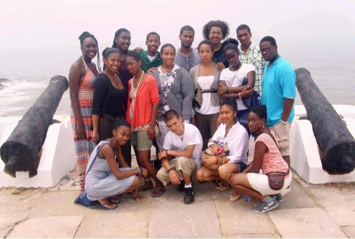 Cidra Sebastien (front row, far right) on a trip to Ghana with Brotherhood/Sister Sol students.