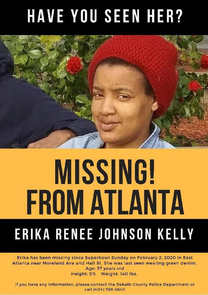 Missing person flyer for Erika Renee Johnson Kelly