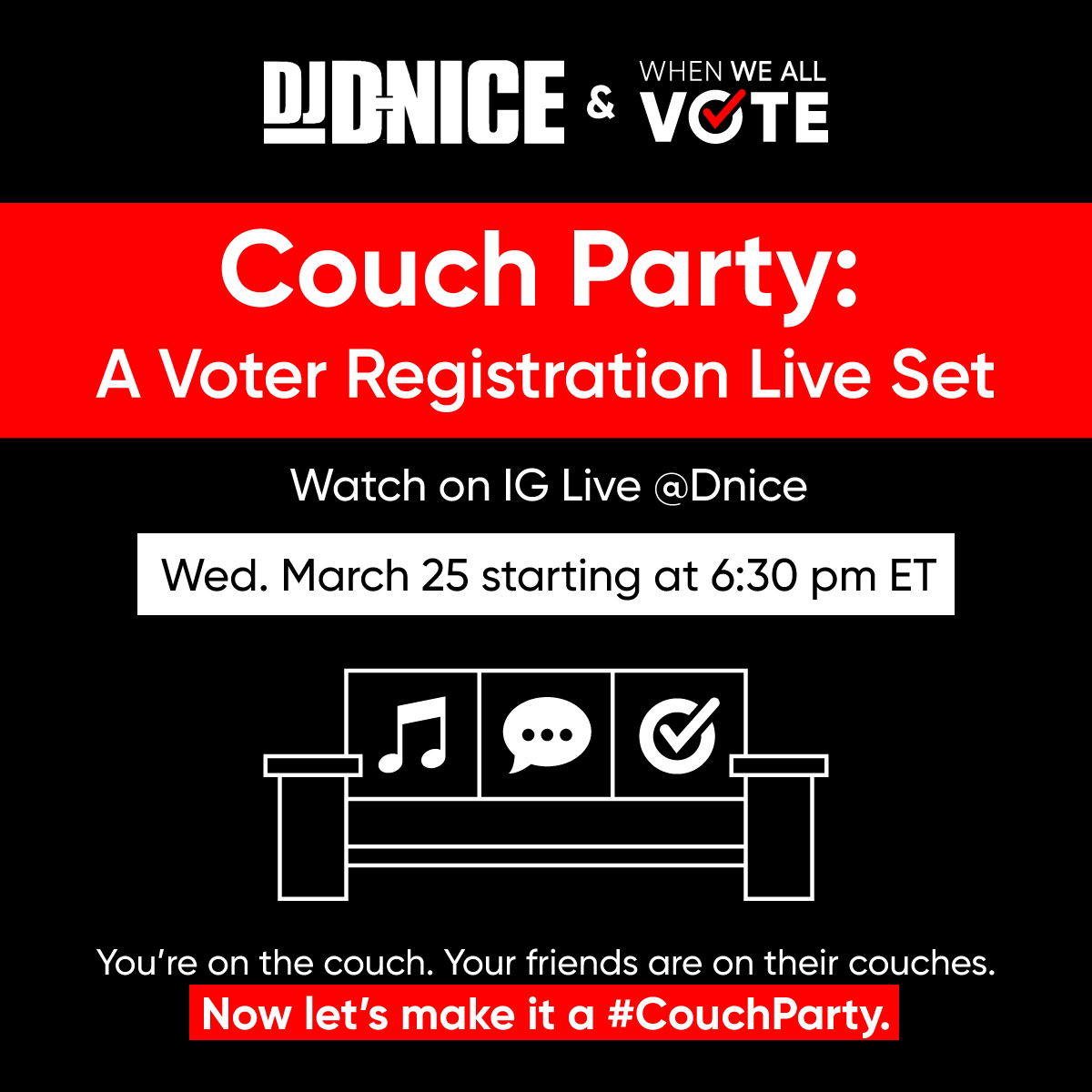 #CouchParty virtual party flyer