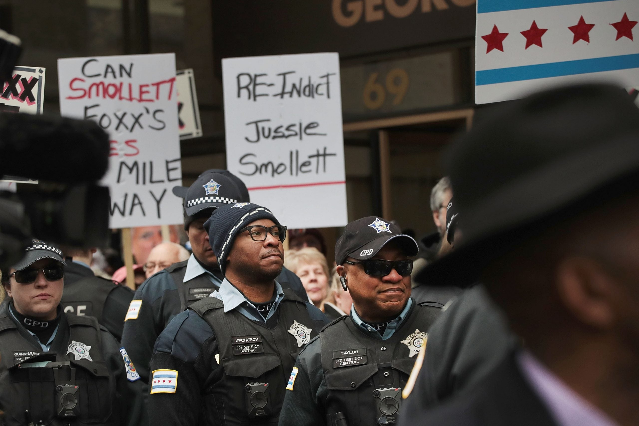 Protestors organized by the Fraternal Order of Police call for the removal of Cook County State's Attorney Kim Foxx
