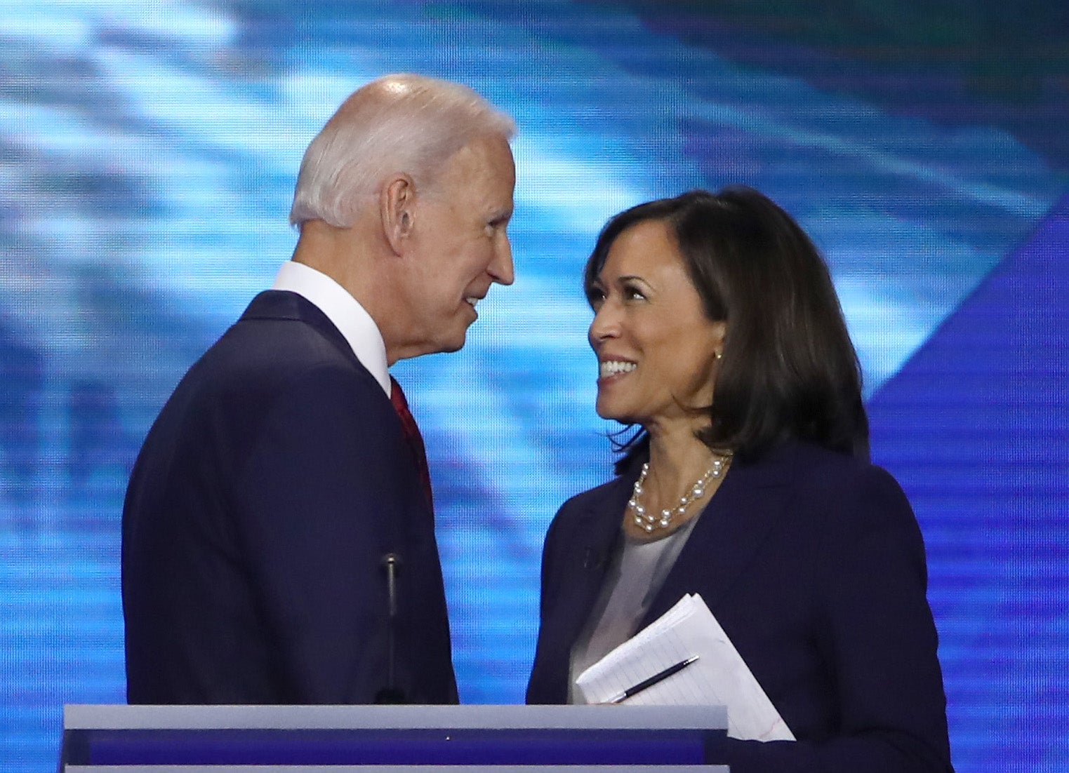 Kamala Harris and Joe Biden. The former opponents teamed up in March for a virtual fundraiser.