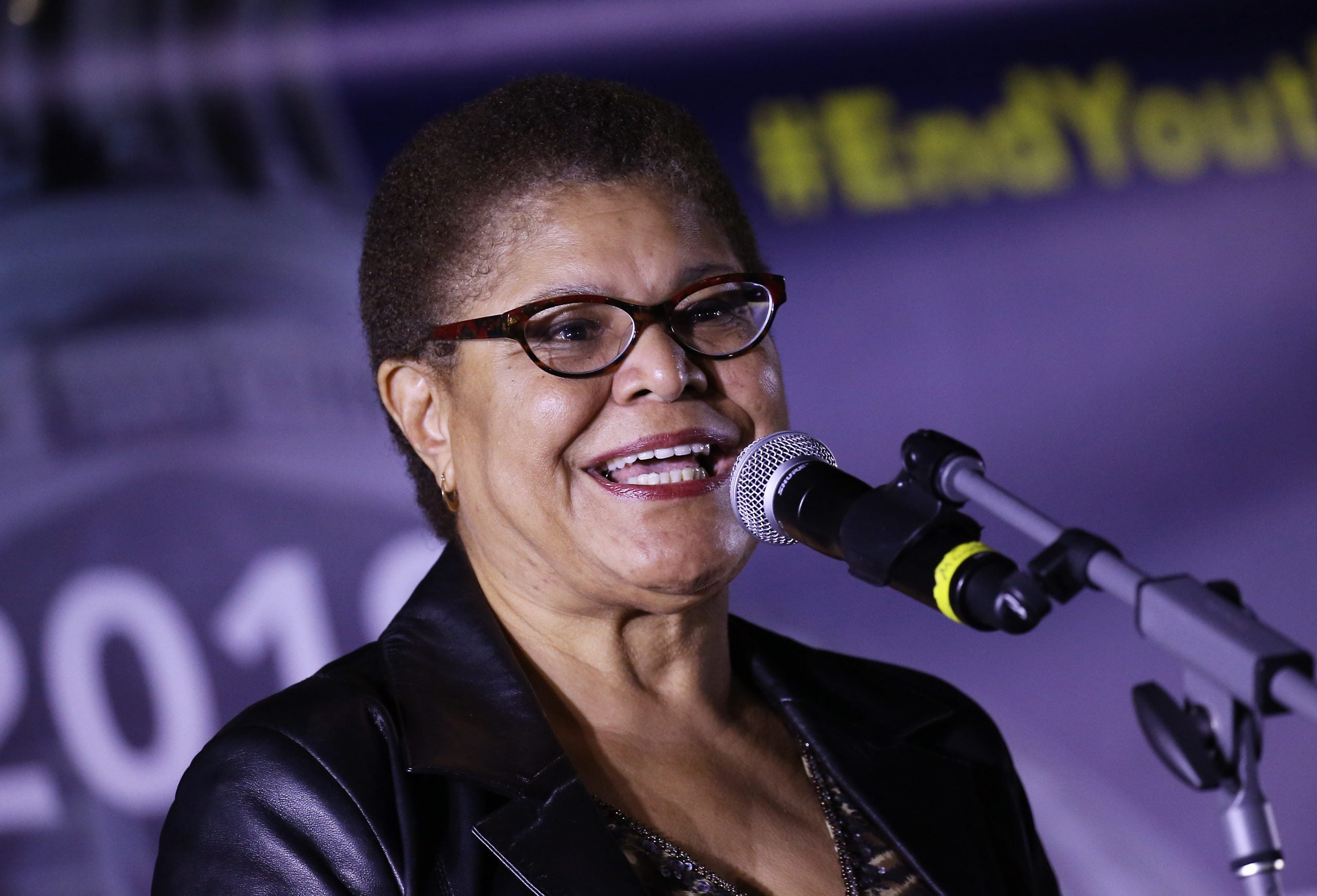 Chairwoman of the Congressional Black Caucus, Karen Bass speaks onstage during the National Night To End Youth Homelessness event held at Hollywood United Methodist Church