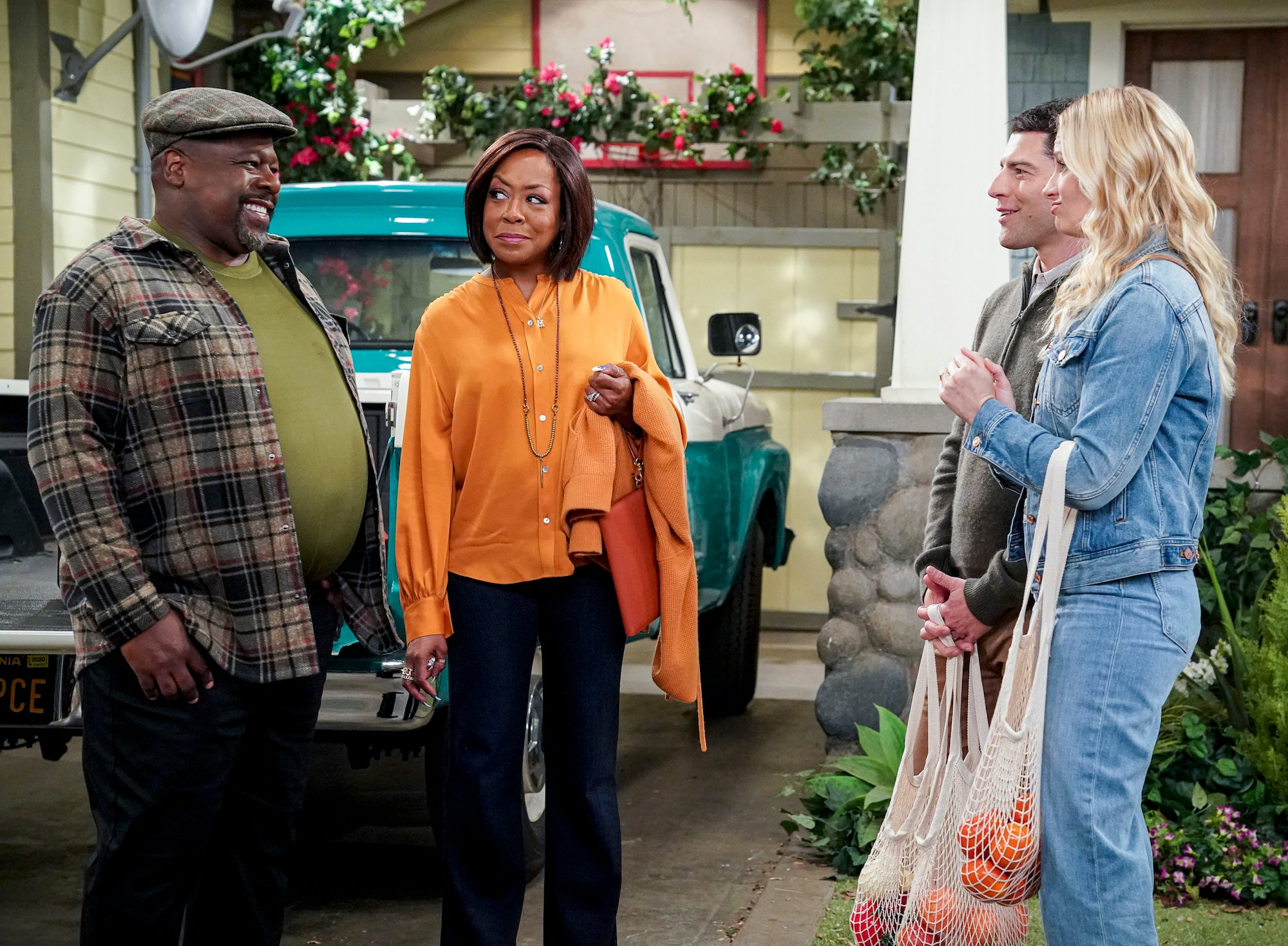 "Tichina Arnold pictured with castmates in ""The Neighborhood"""