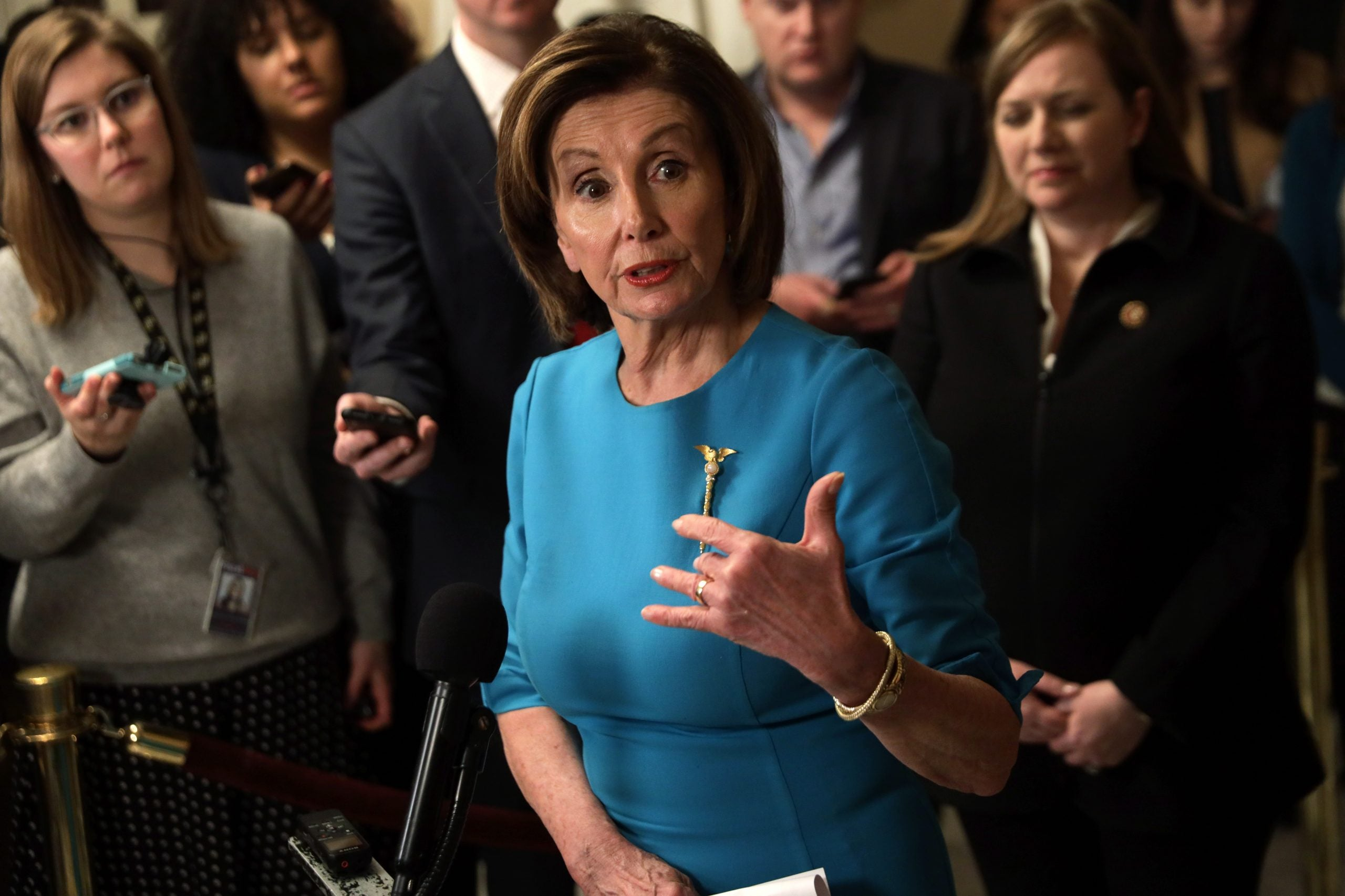 U.S. Speaker of the House Rep. Nancy Pelosi (D-CA) speaks to members of the media at the U.S. Capitol March 13, 2020 in Washington, DC. Speaker Pelosi held a briefing on the Coronavirus Aid Package Bill that will help families get a free meal during school closures