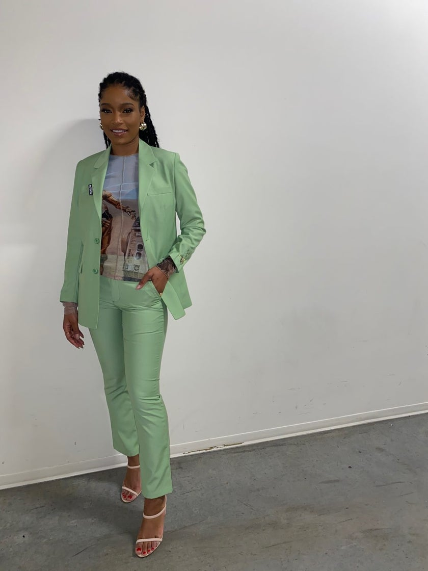 Shop Keke Palmer's Sporty Unisex Green Blazer