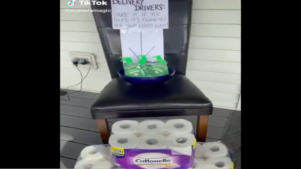 This TikTok User Left Out Free Hand Sanitizer And Toilet Paper For Delivery Drivers