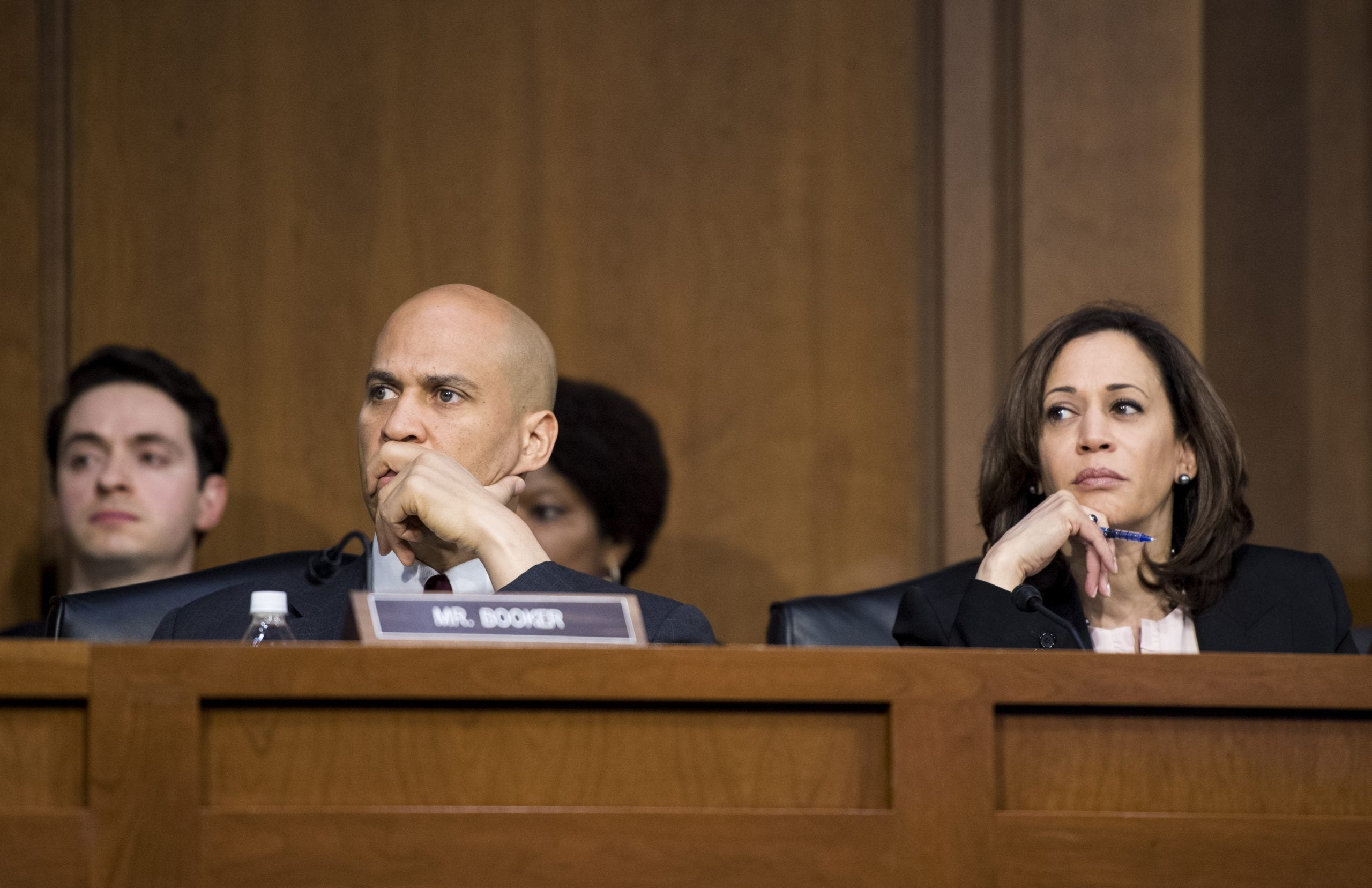 Sen. Cory Booker, D-N.J., and Sen. Kamala Harris, D-Calif., at the confirmation hearing of AG Barr