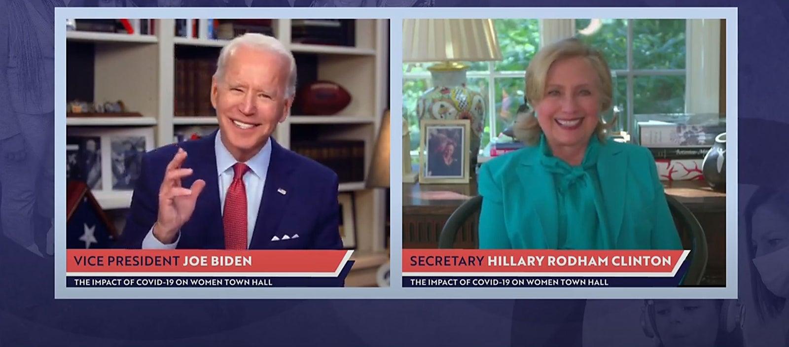 Hillary Clinton joins Joe Biden for virtual town hall.