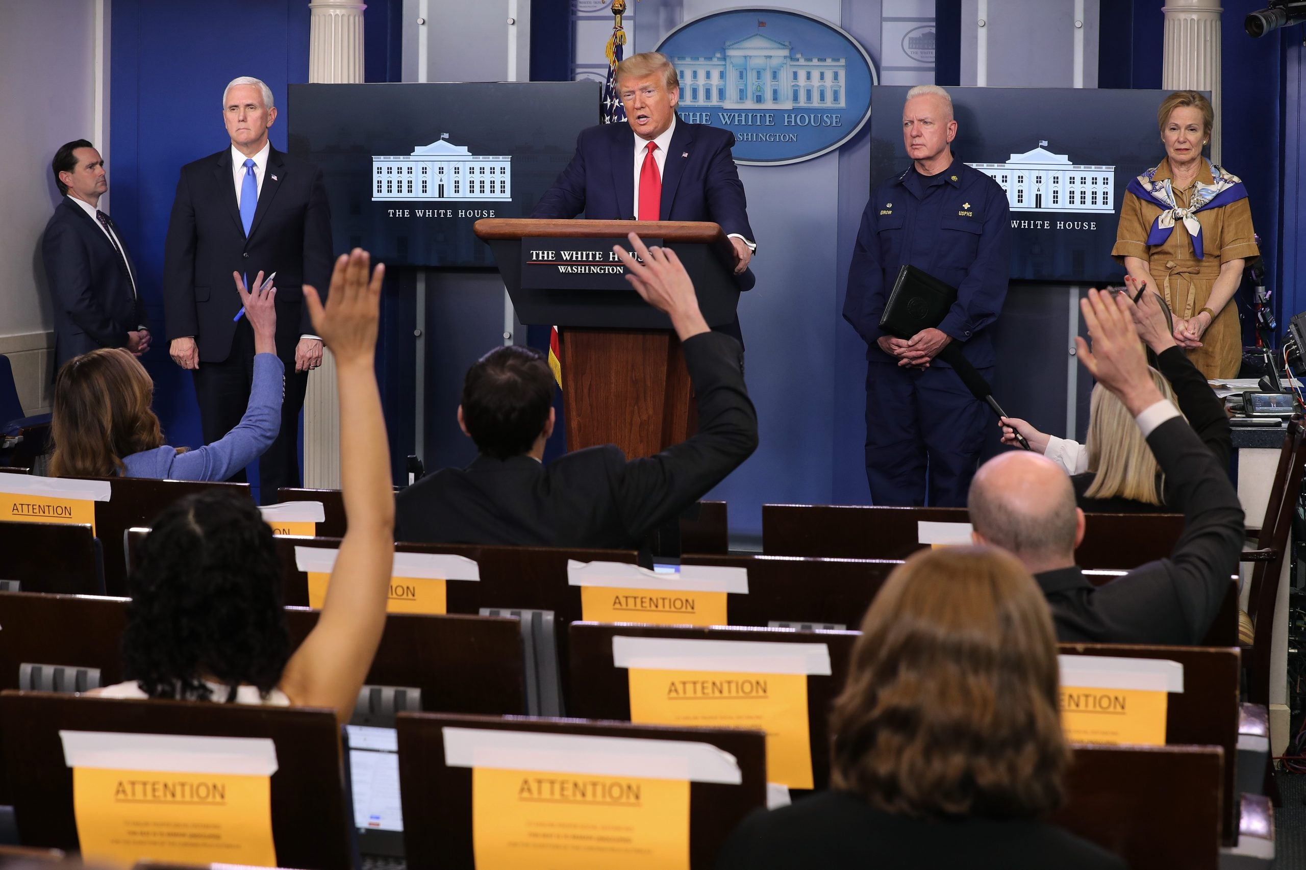Trump talks to reporters about HHS report during daily coronavirus briefing