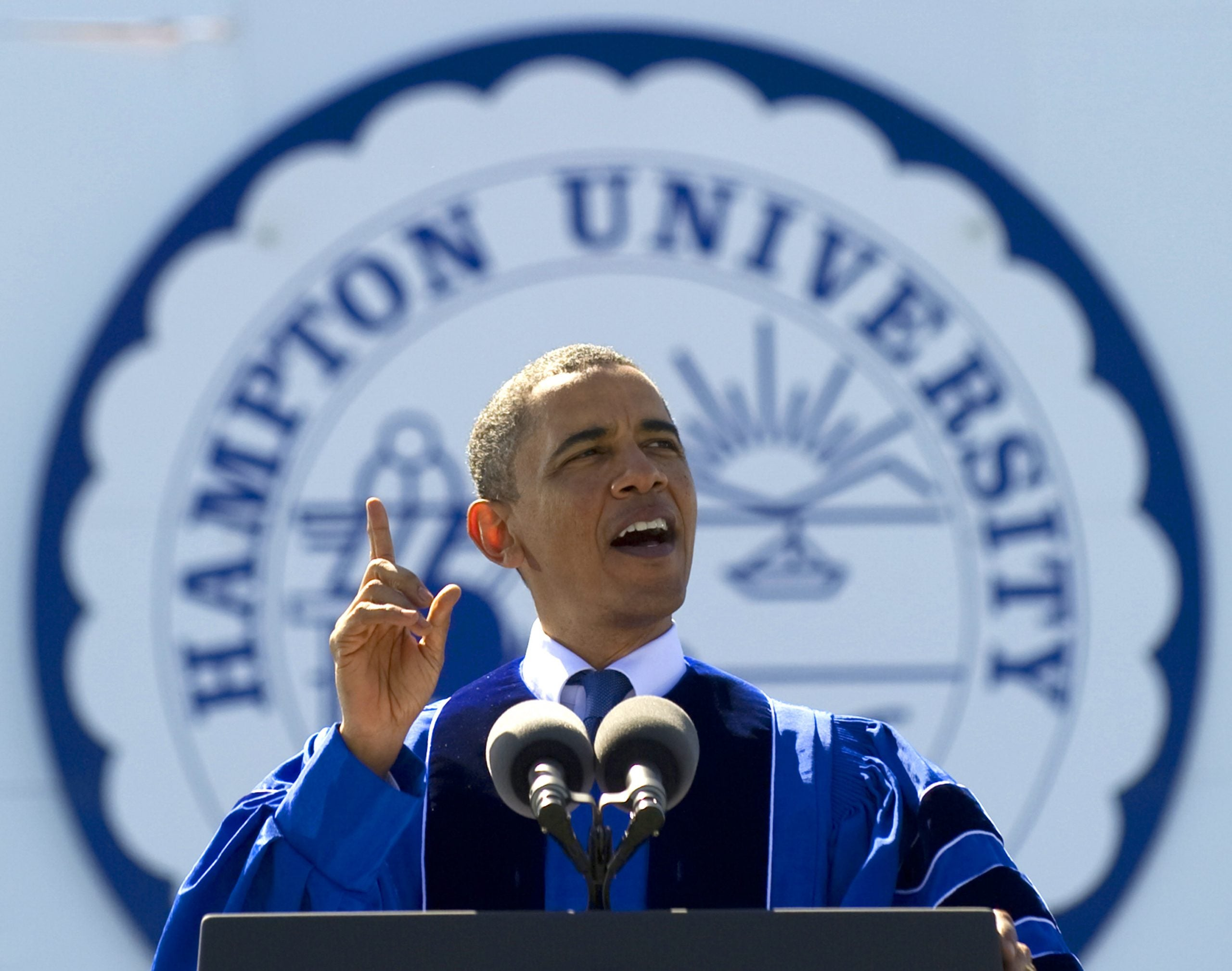 Barack Obama delivers the commencement speech at Hampton University, a historically Black university in Virginia that recently received a large financial gift from MacKenzie Scott
