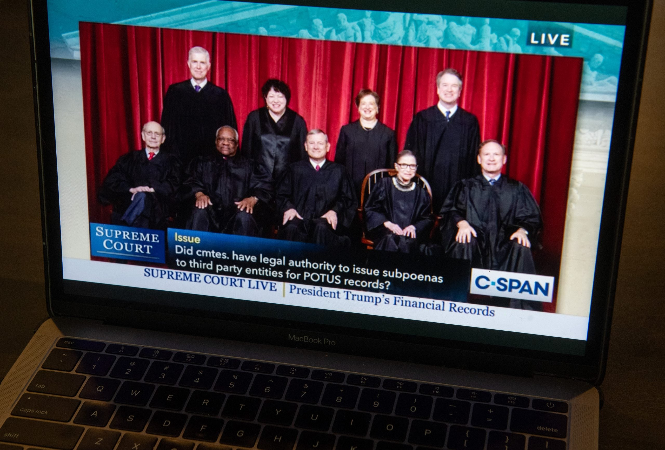 An audio feed of Supreme Court oral arguments in Trump v. Mazars and Trump v. Deutche Bank AG, dealing with the subpoenas from the US Congress to obtain US President Donald Trump's financial records.