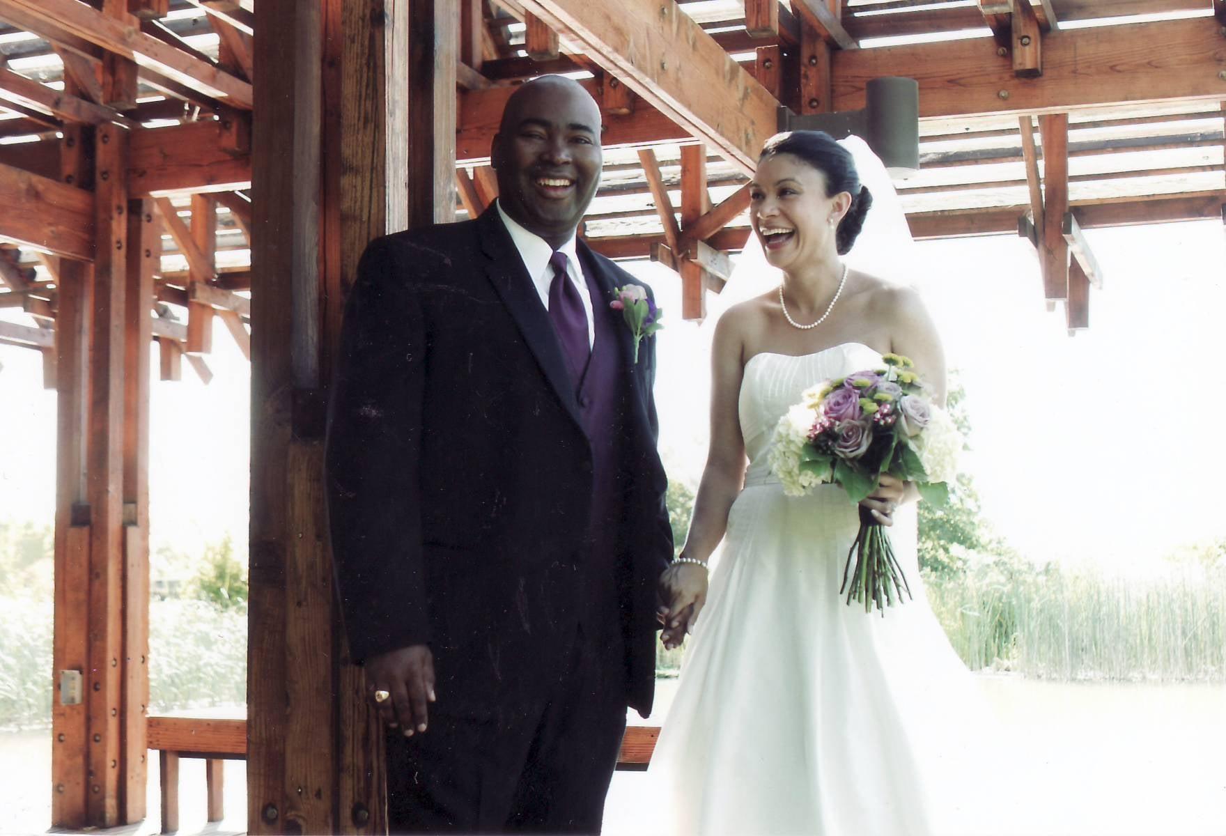 Jaime Harrison with wife Marie C. Boyd on their wedding day