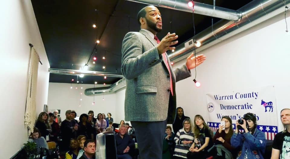 Charles Booker speaks with Kentucky voters