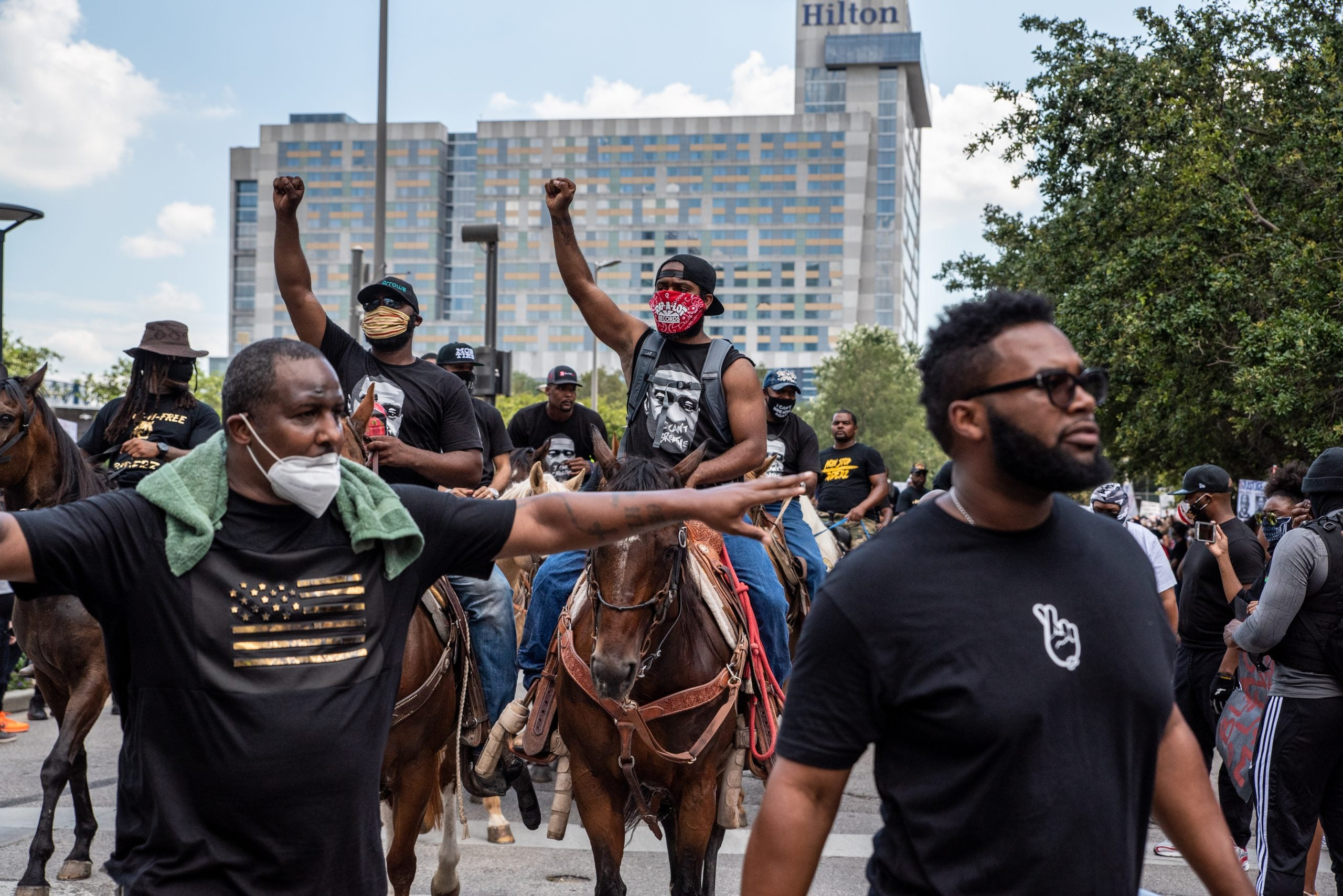 Protesters in Texas. Justin Howell was critically injured by Austin police during a rally in the city.