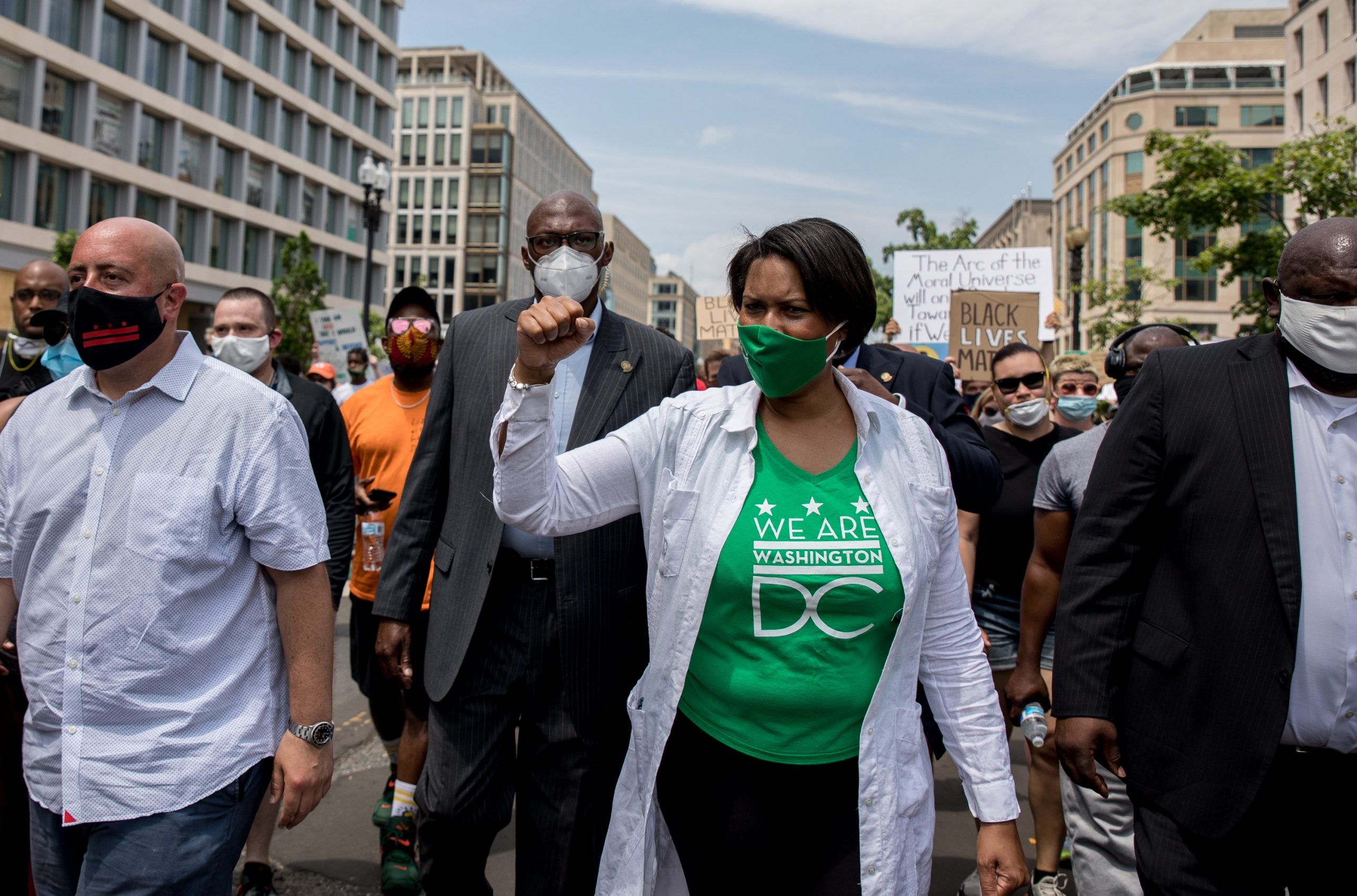 WASHINGTON,DC-JUNE6: Mayor Muriel Bowser walks down 16th Street, a portion of which was recently renamed Black Lives Matter Plaza, during the 9th day of protests on 16th Street outside of the White House in Washington, DC, June 6, 2020. (Photo by Evelyn Hockstein/For The Washington Post via Getty Images)