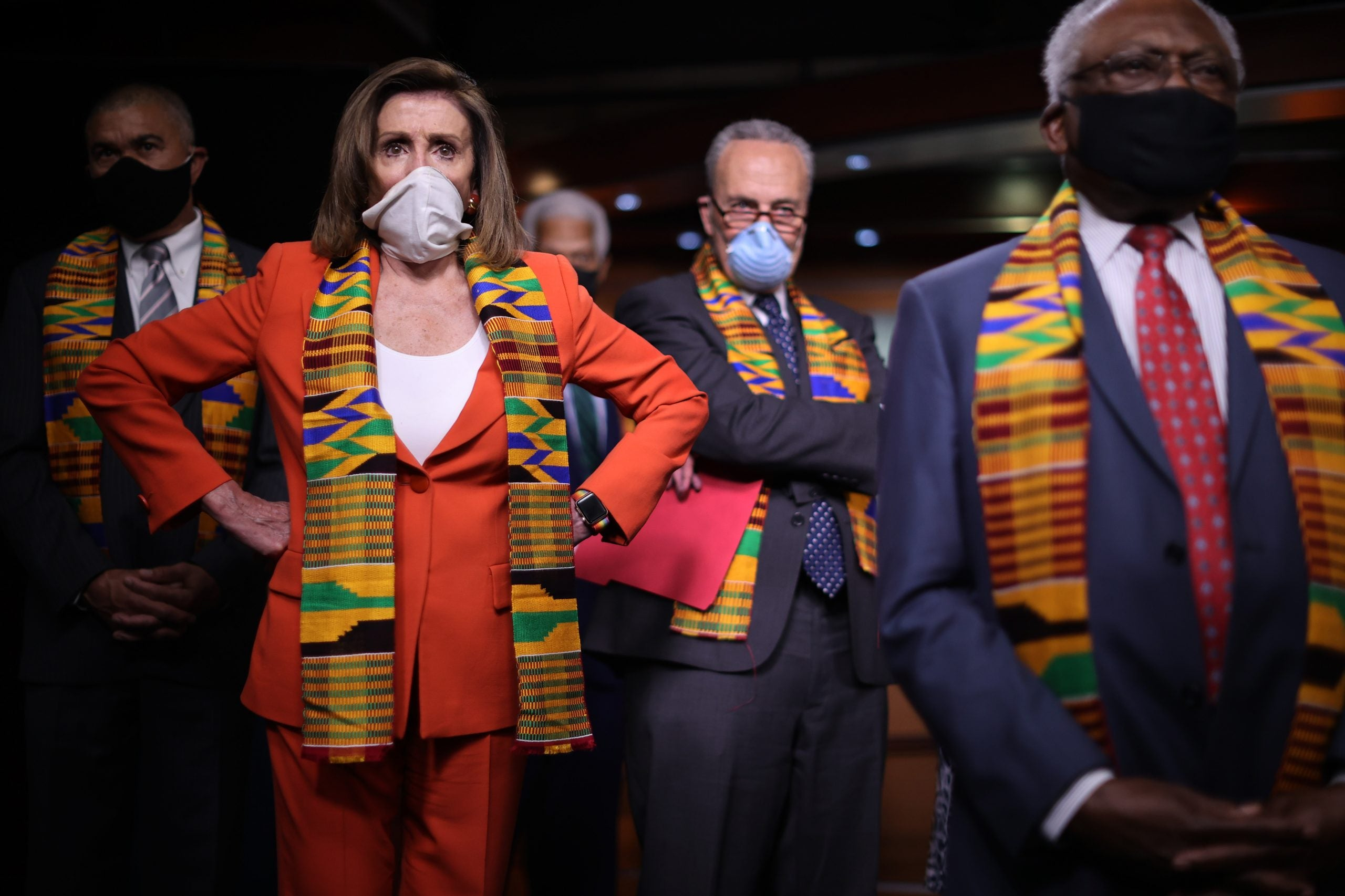 WASHINGTON, DC - JUNE 08: Speaker of the House Nancy Pelosi (D-CA) joins fellow Democrats from the House and Senate, including (L-R) Rep. Lacy Clay (D-MO), Senate Minority Leader Charles Schumer (D-NY) and House Majority Whip James Clyburn (D-SC), to announce new legislation to end excessive use of force by police across the country and make it easier to identify, track, and prosecute police misconduct at the U.S. Capitol June 08, 2020 in Washington, DC.