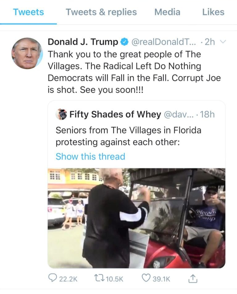 """screenshot of Donald Trump's tweet that shares footage of a supporter screaming """"white power"""""""