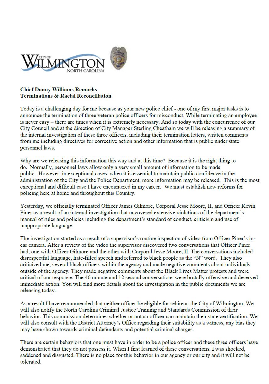 Wilmington, NC Police memo