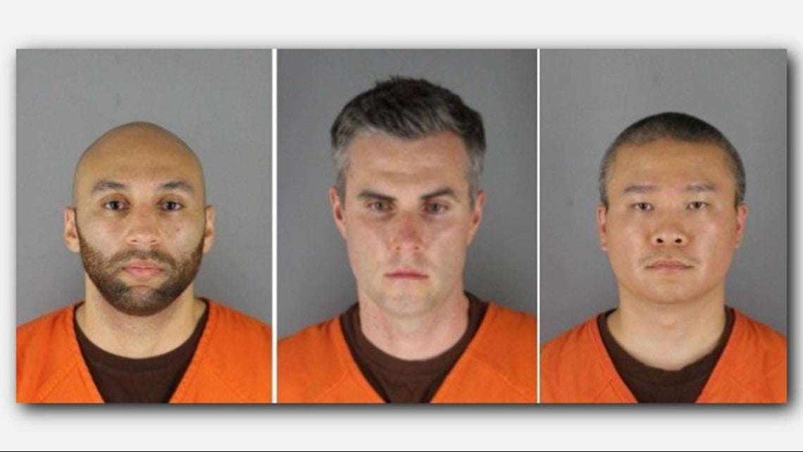 J Alexander Kueng, Thomas Lane, Tou Thao are facing charges of aiding and abetting second-degree murder and aiding and abetting second-degree manslaughter in George Floyd's death. Another officer (not pictured) Derek Chauvin is facing second-degree murder charges. (Hennepin County Sheriff's Office)