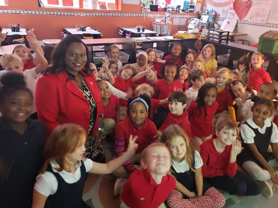 Alissia Canady meets with school children