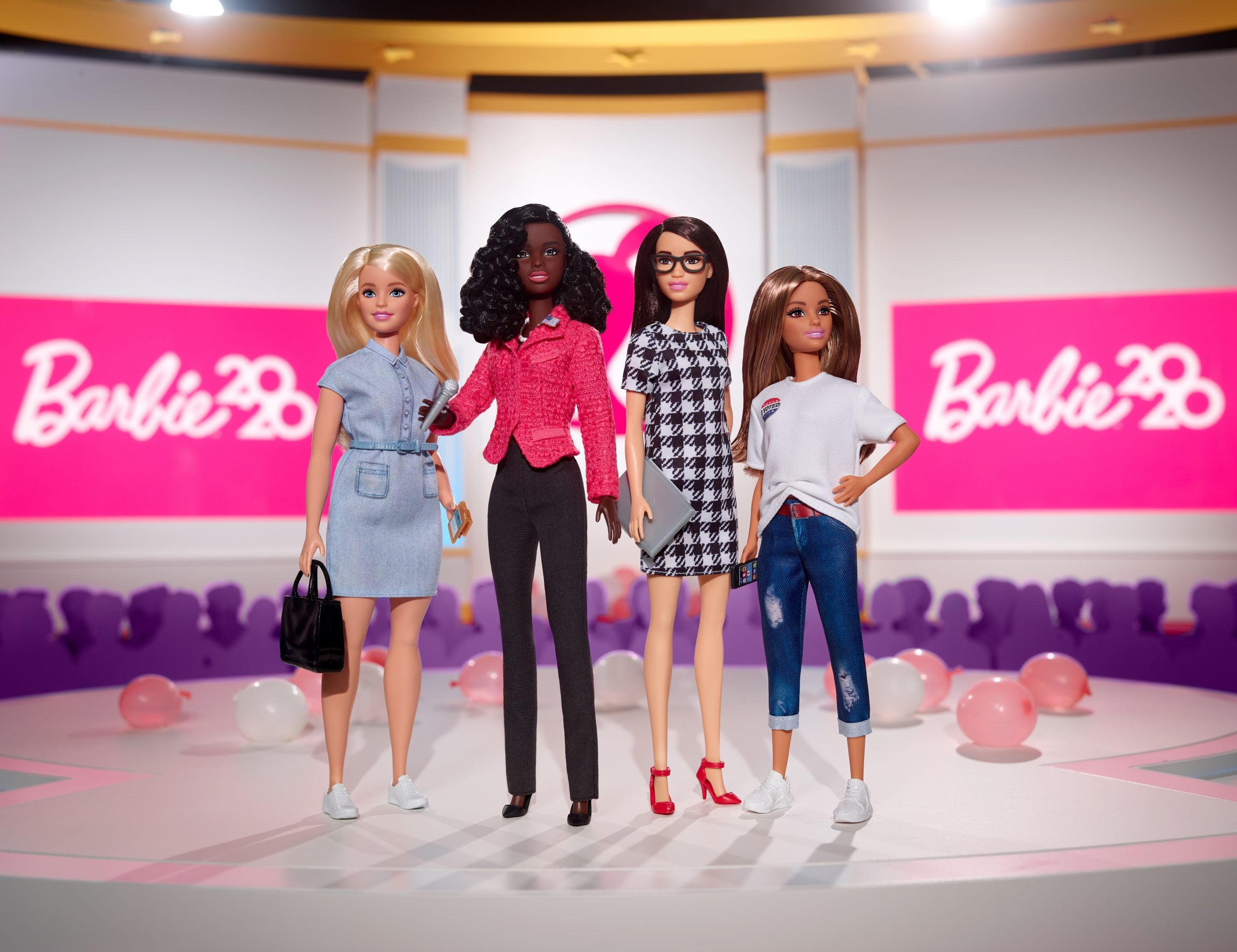 Black Barbie president poses with campaign staff and voter