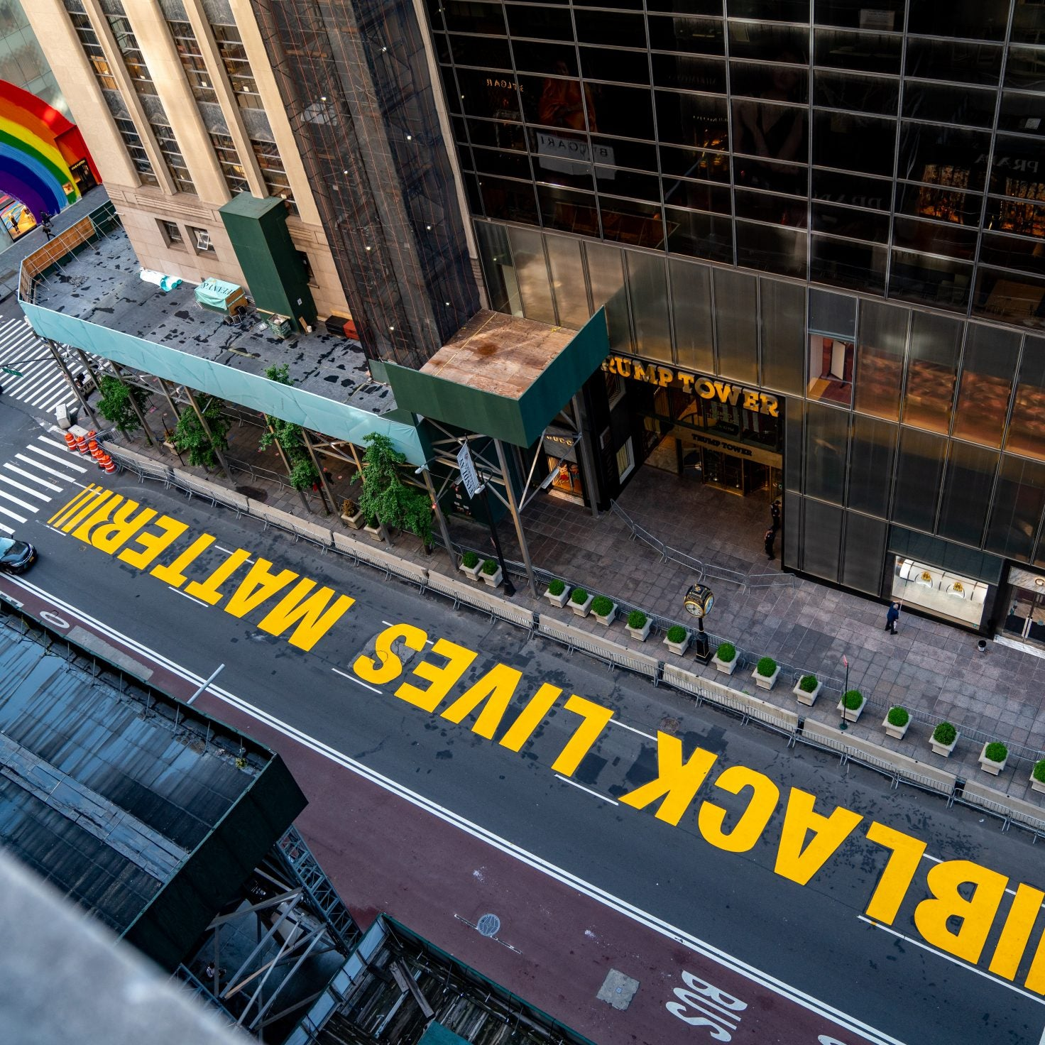 Black Lives Matter Street Mural In Front Of Trump Tower Vandalized
