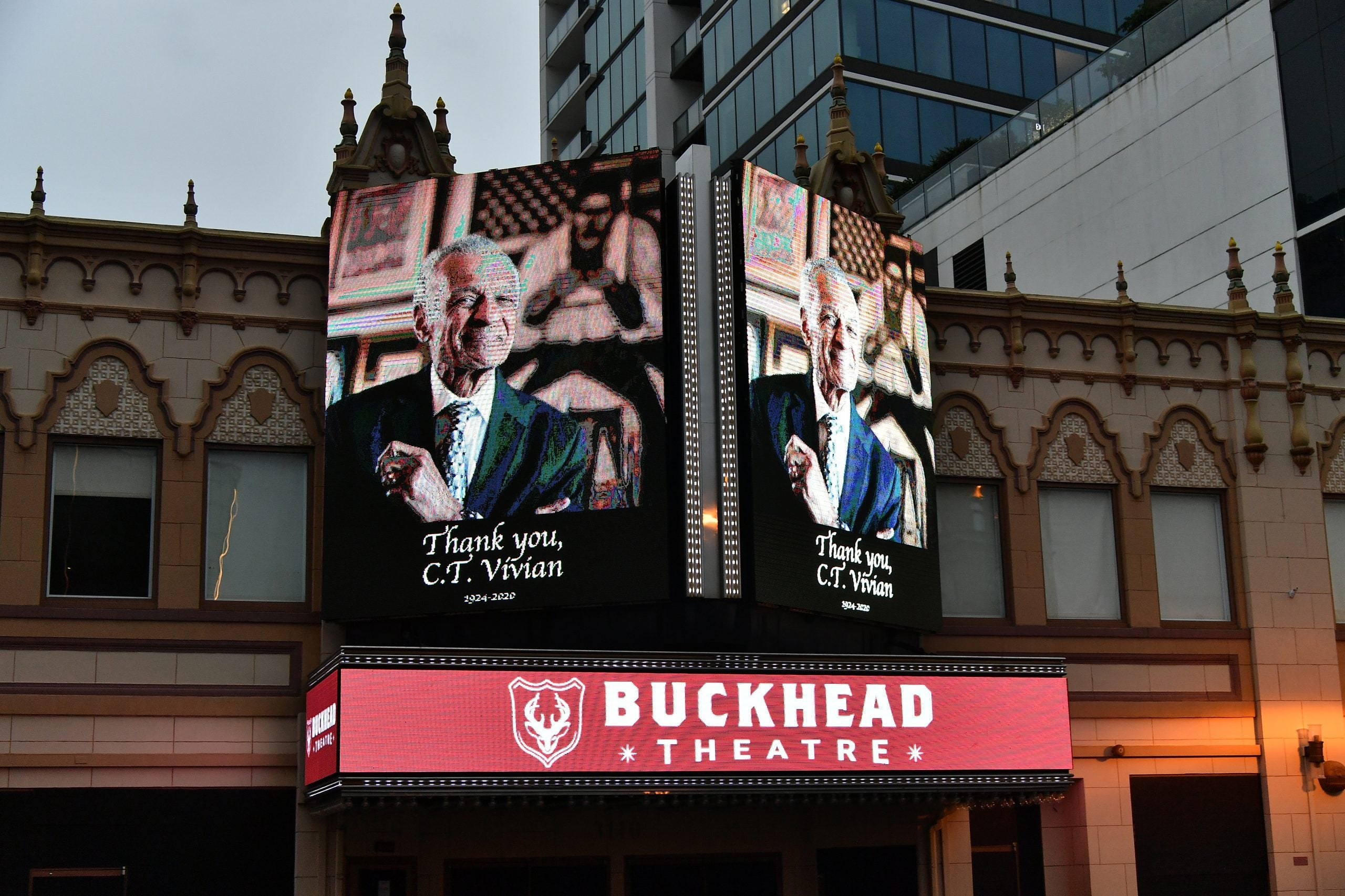 """ATLANTA, GEORGIA - JULY 21:  The Buckhead Theatre marquee displays """"Thank you, C.T. Vivian"""" on July 21, 2020 in Atlanta, Georgia. (Photo by Paras Griffin/Getty Images)"""