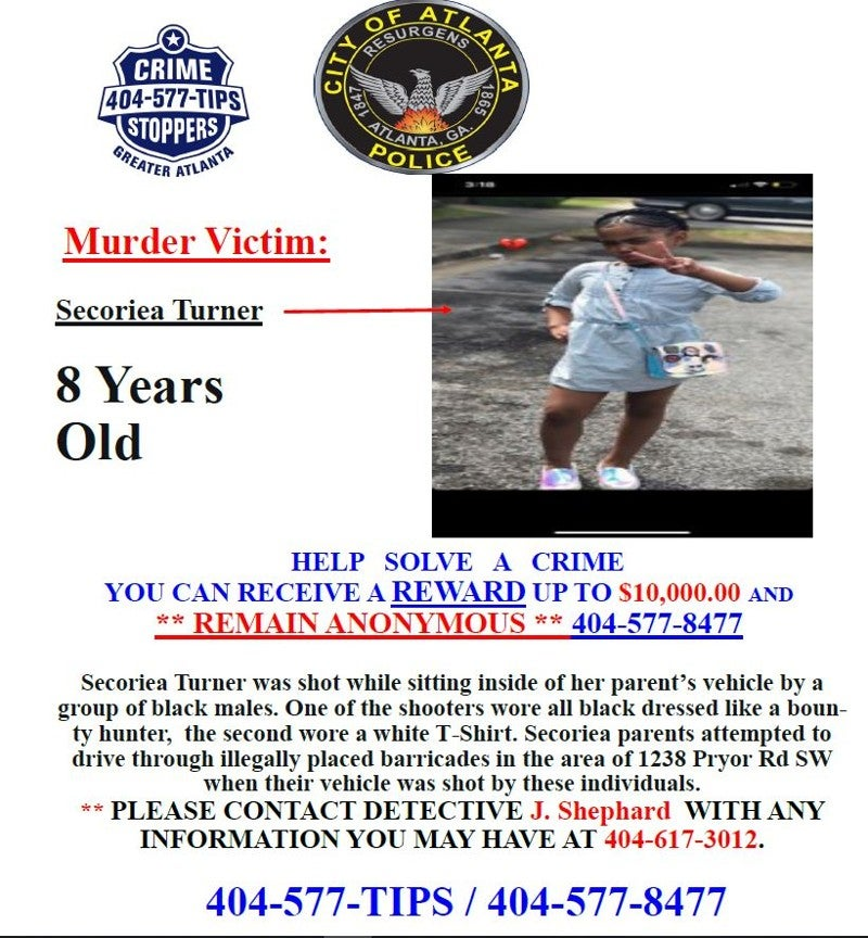 reward flyer in shooting death of Secoriea Turner