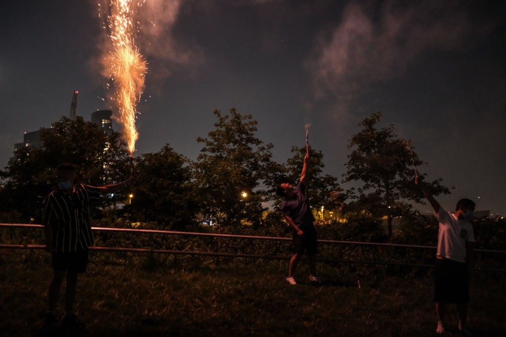 Fireworks Illuminate Movement For Black Lives' Call To Defund Police