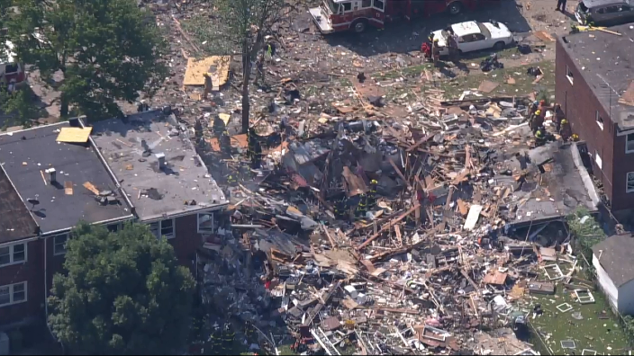 Rubble and debris from a deadly explosion in Baltimore